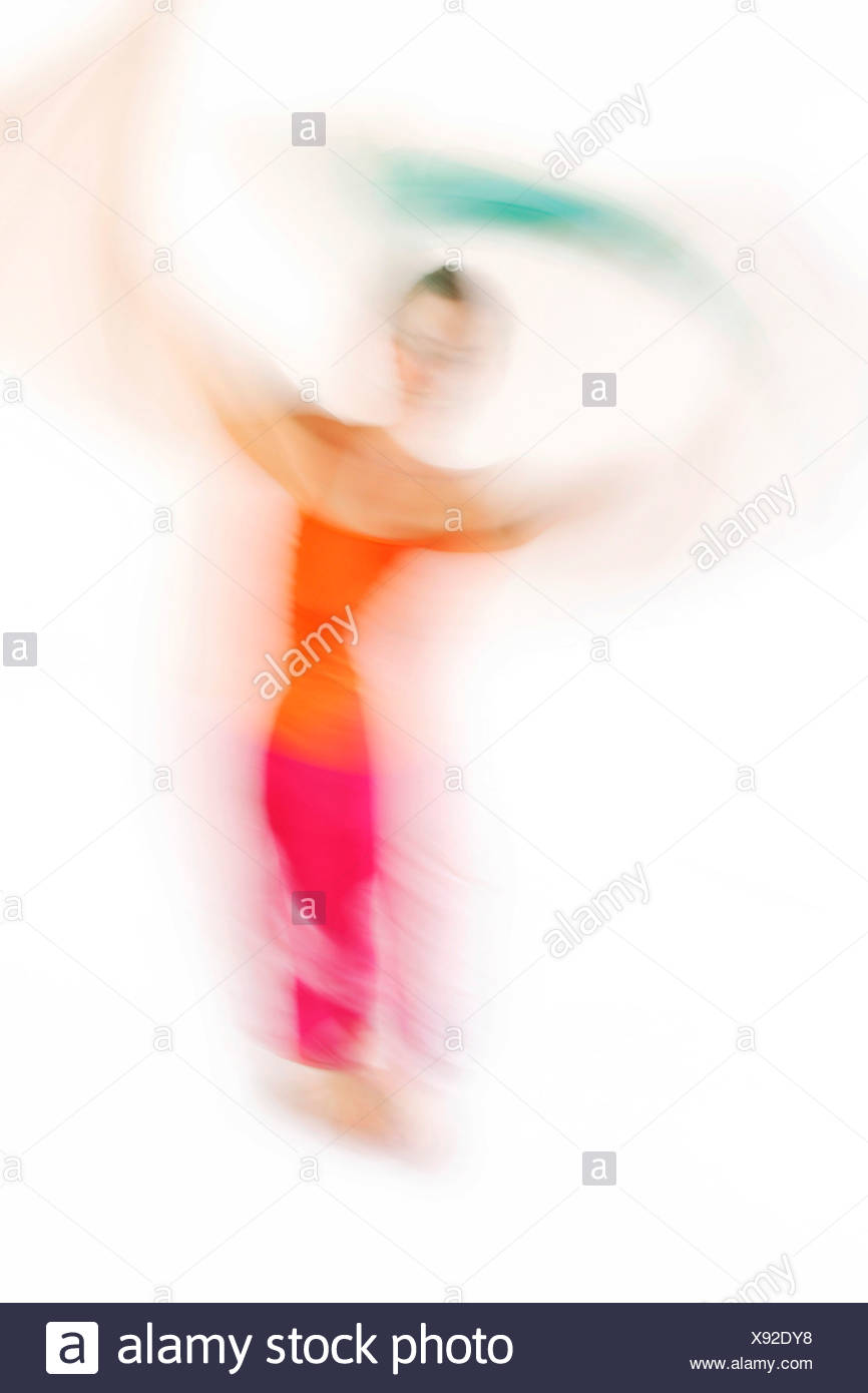 Dancer and movement pedagogue, movement therapist, during a dance and movement improvisation - Stock Image