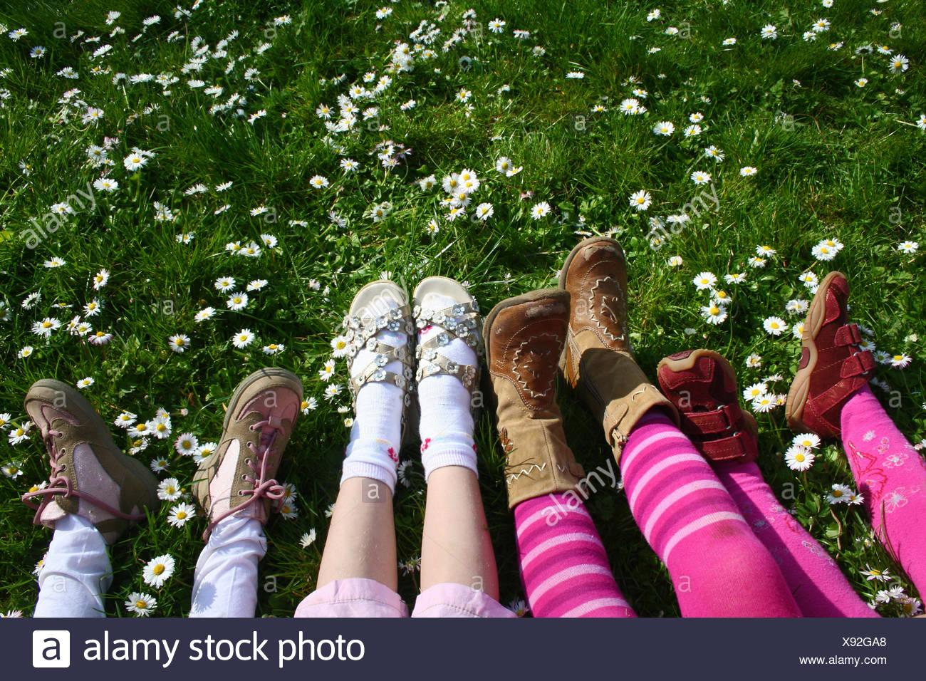legs shoes ankle-strap sandal Stock Photo