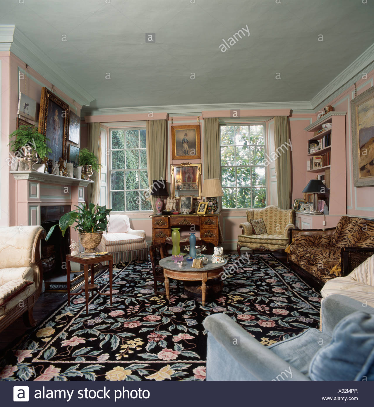Floral patterned black carpet in pale blue upstairs living ...