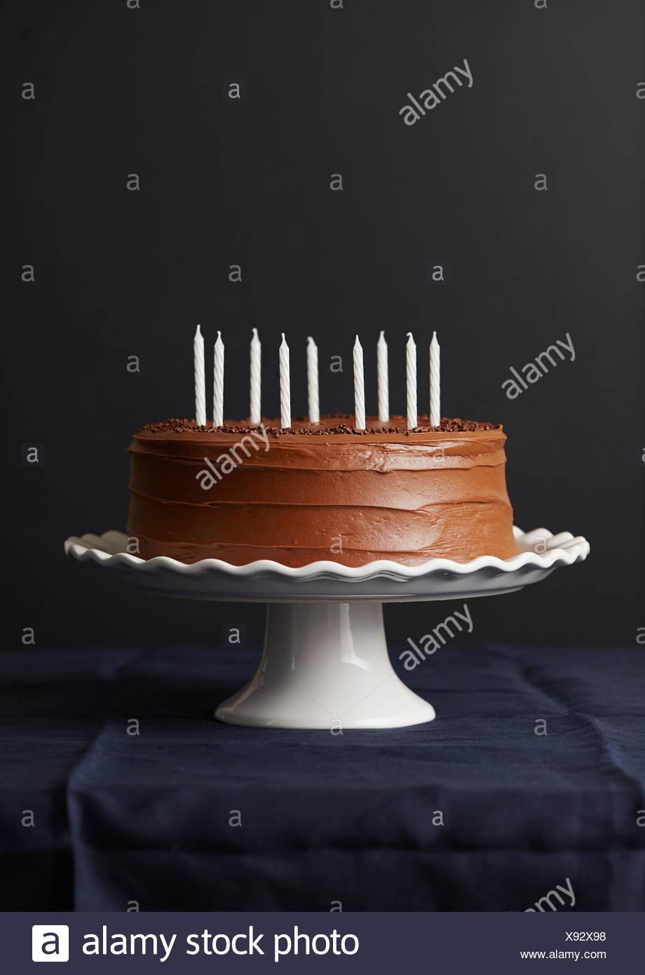 Pleasing Studio Shot Of Chocolate Birthday Cake Stock Photo 280962340 Alamy Birthday Cards Printable Trancafe Filternl