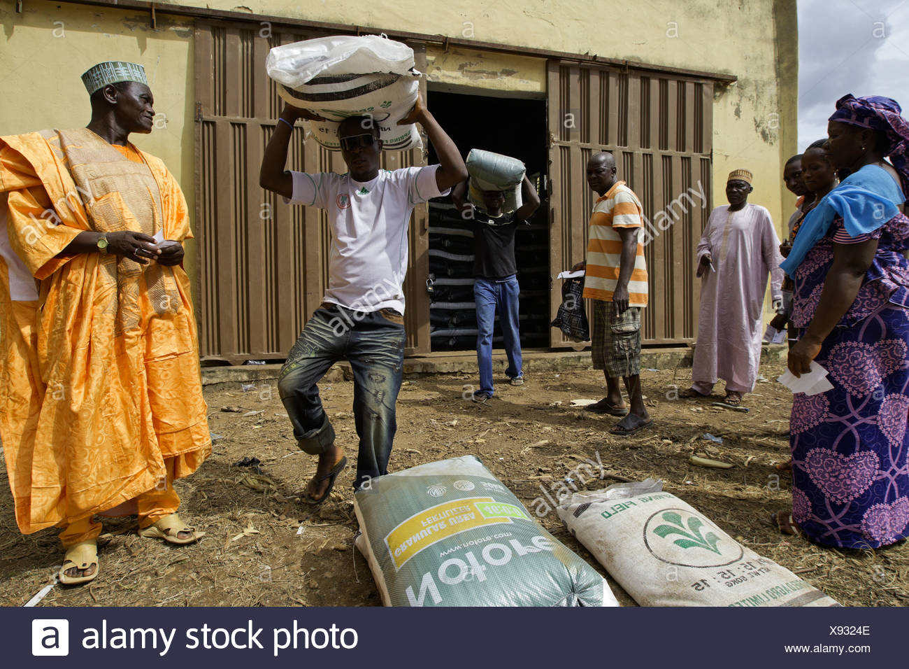 Small farmers using vouchers to purchase fertilizer at a subsidized rate at a distribution center in Bali, Nigeria. - Stock Image