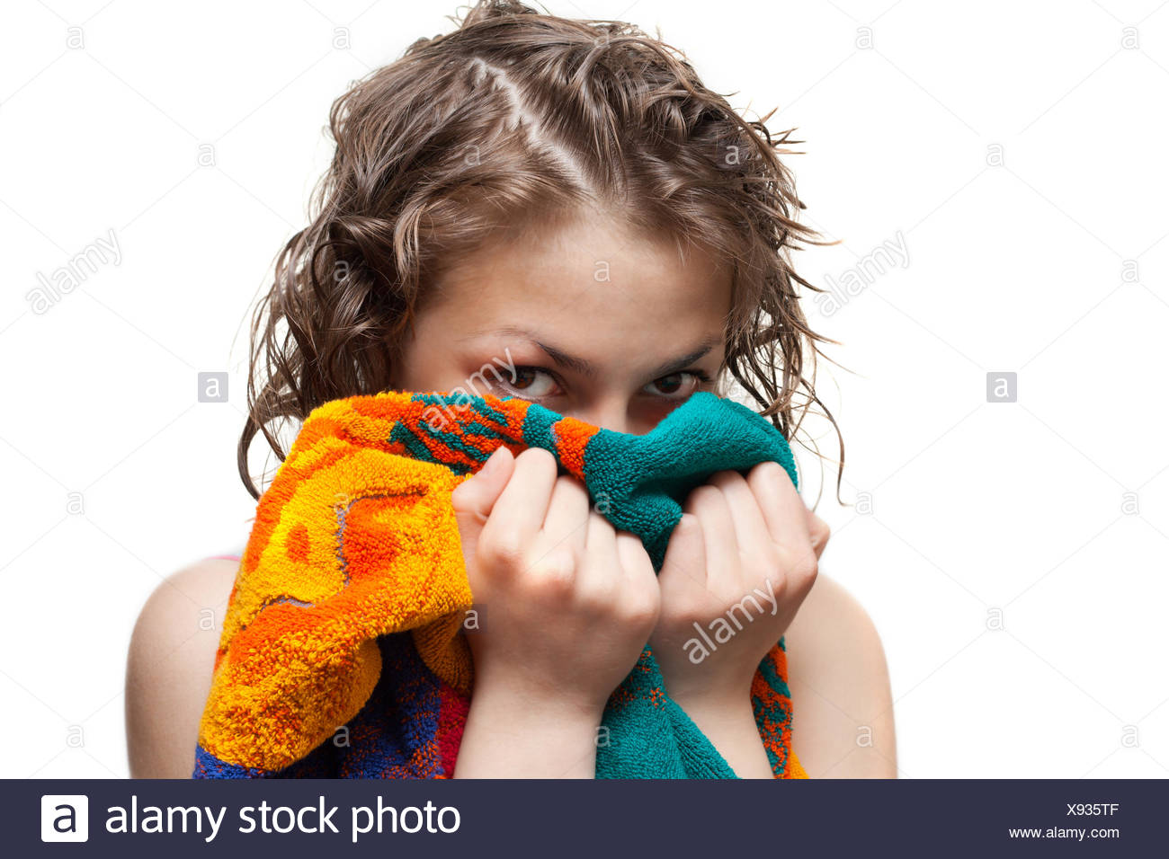 Making look younger girl with wet hair - Stock Image
