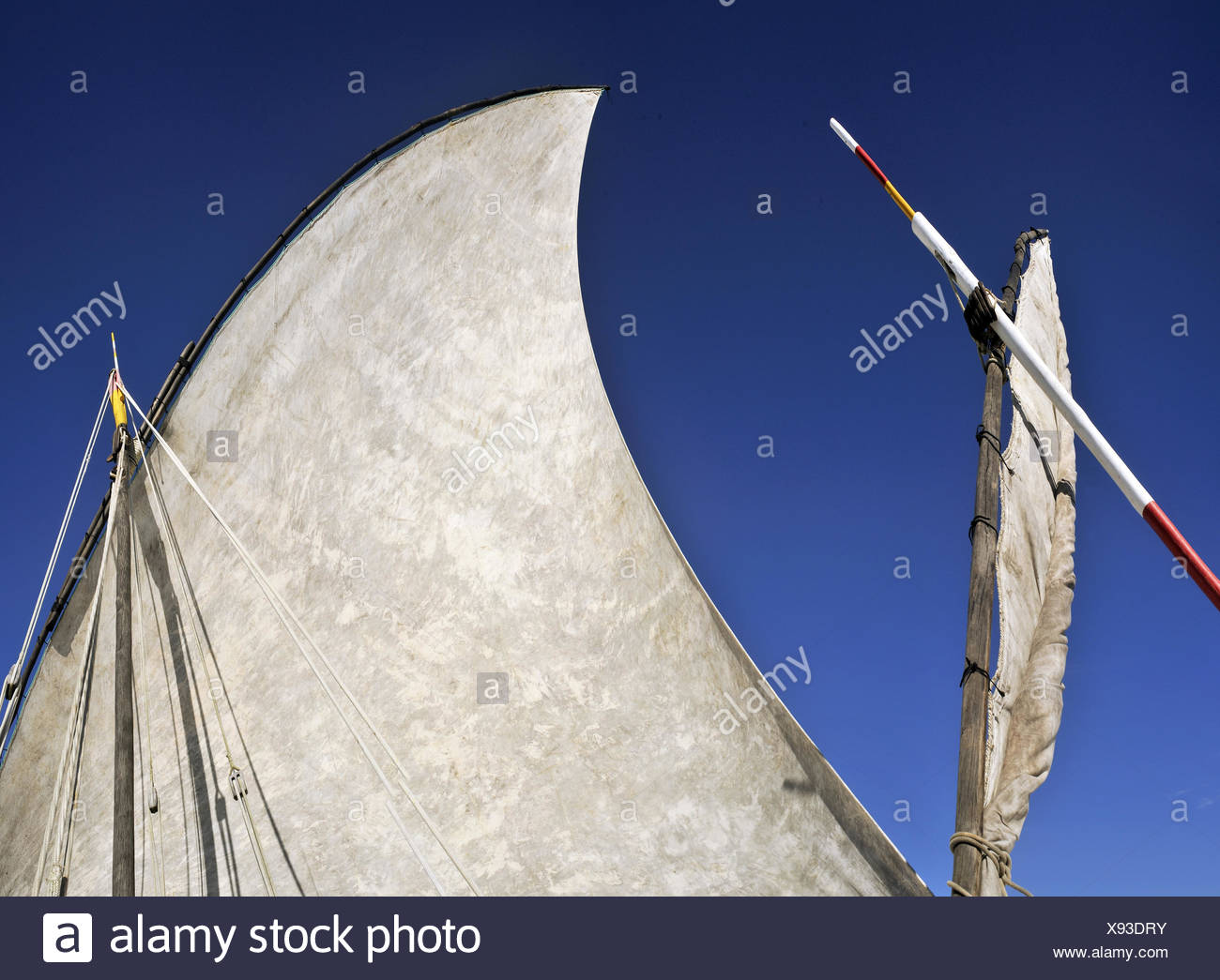 sail of traditional dhow, Madagascar, Nosy Be - Stock Image