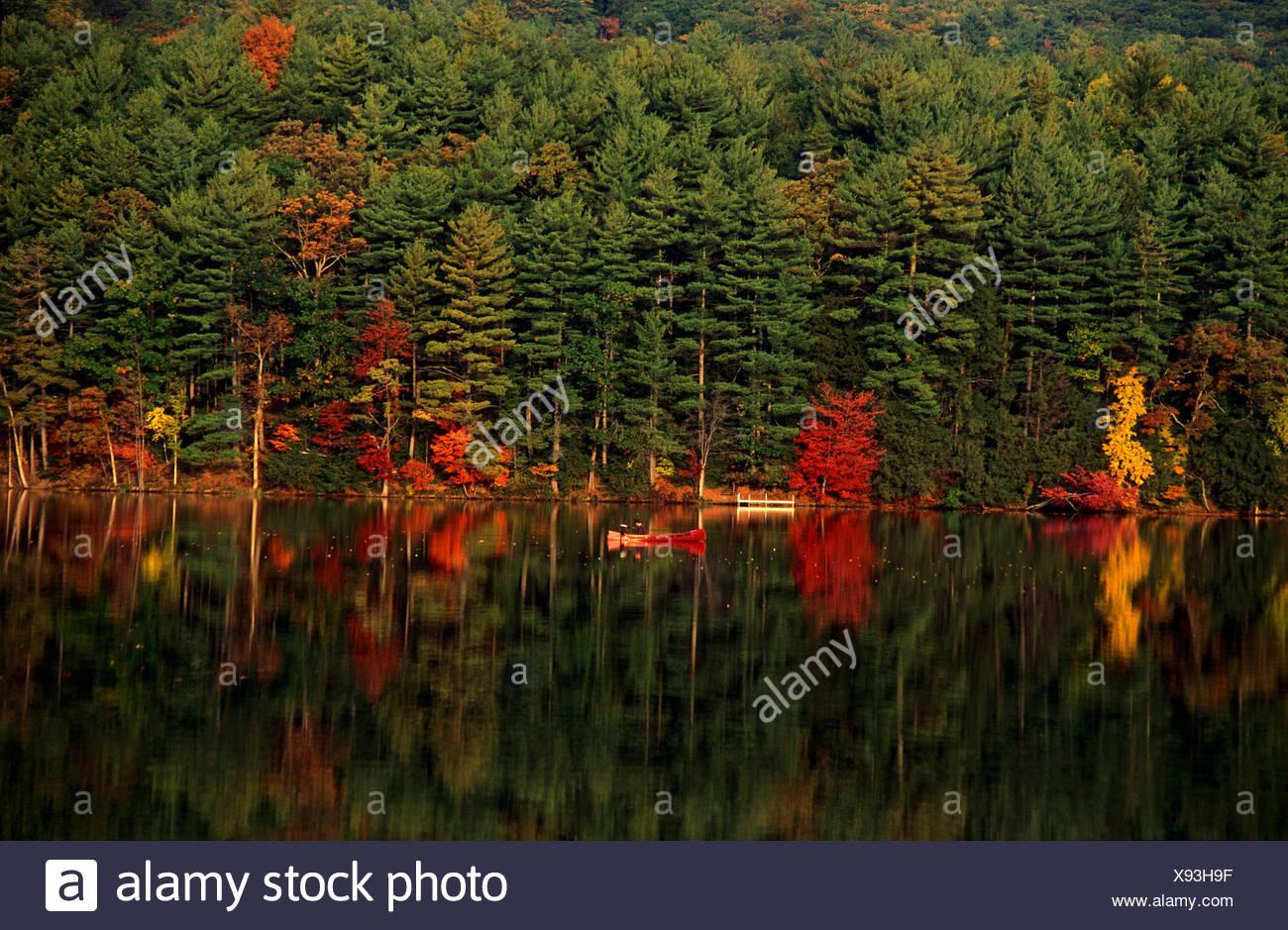 indian summer on great sacandaga lake us - Stock Image