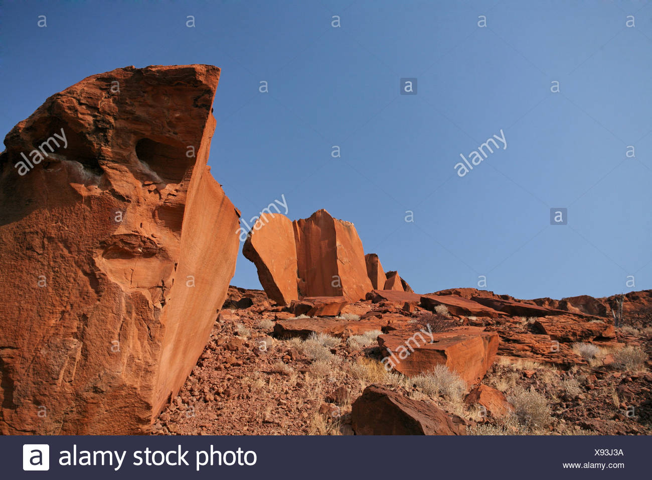 Namibia Africa Twyfelfontein Summer 2007 Africa rock formation desert rocky nature erosion landscape - Stock Image