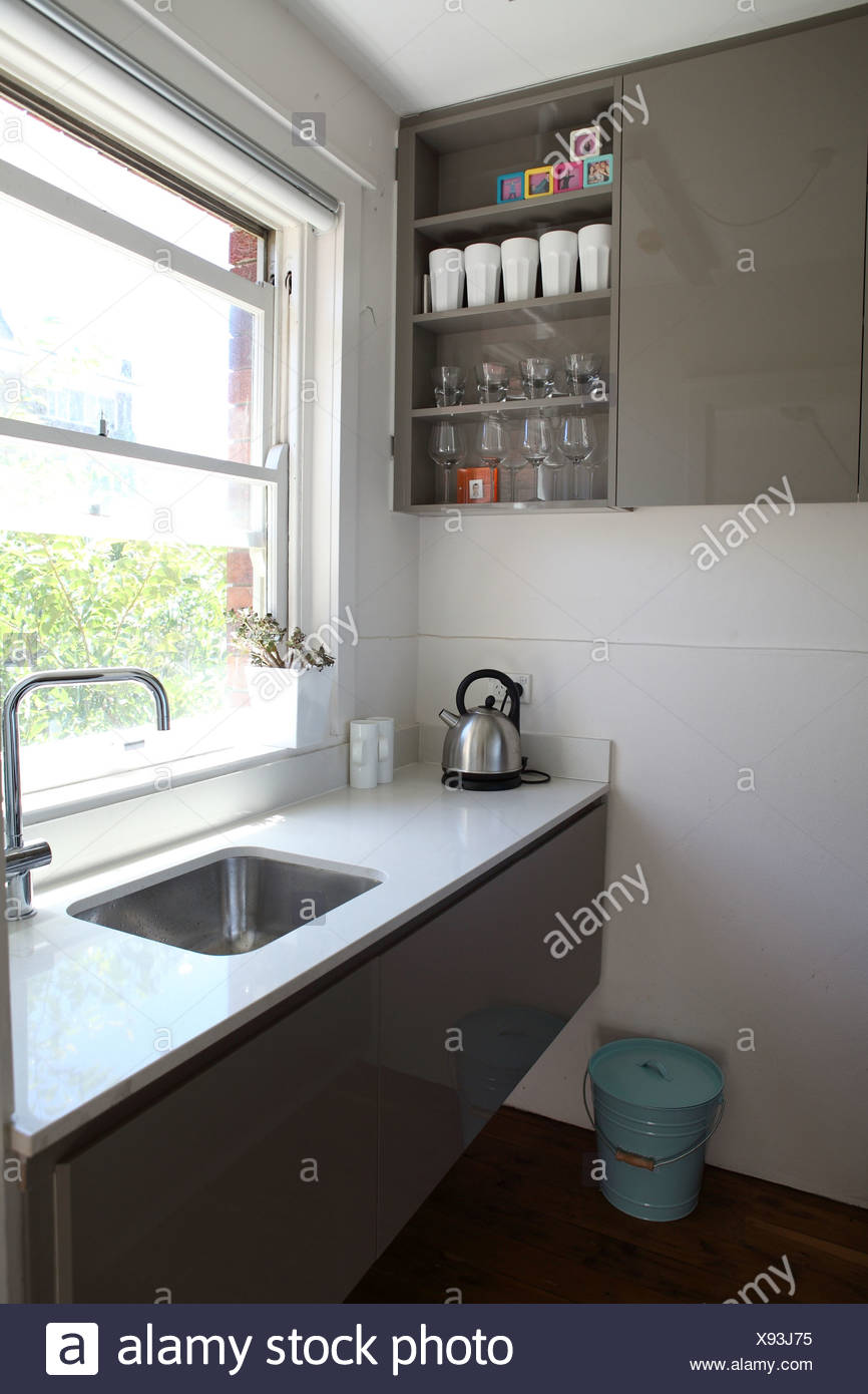 Apartment In Sydney Small Galley Kitchen With White Stone ...