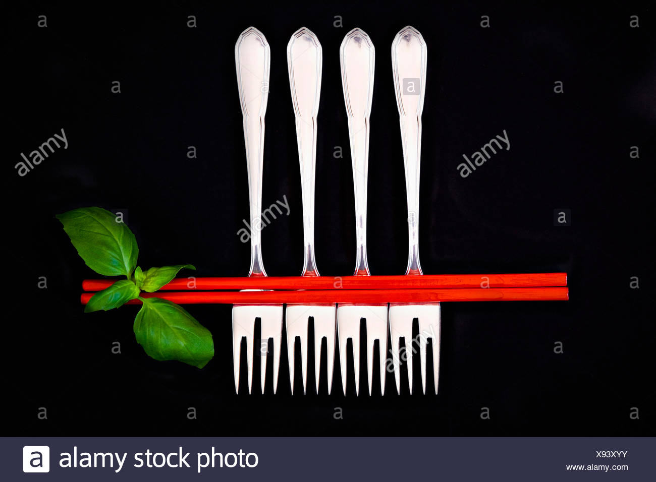 Chopsticks and forks - Stock Image
