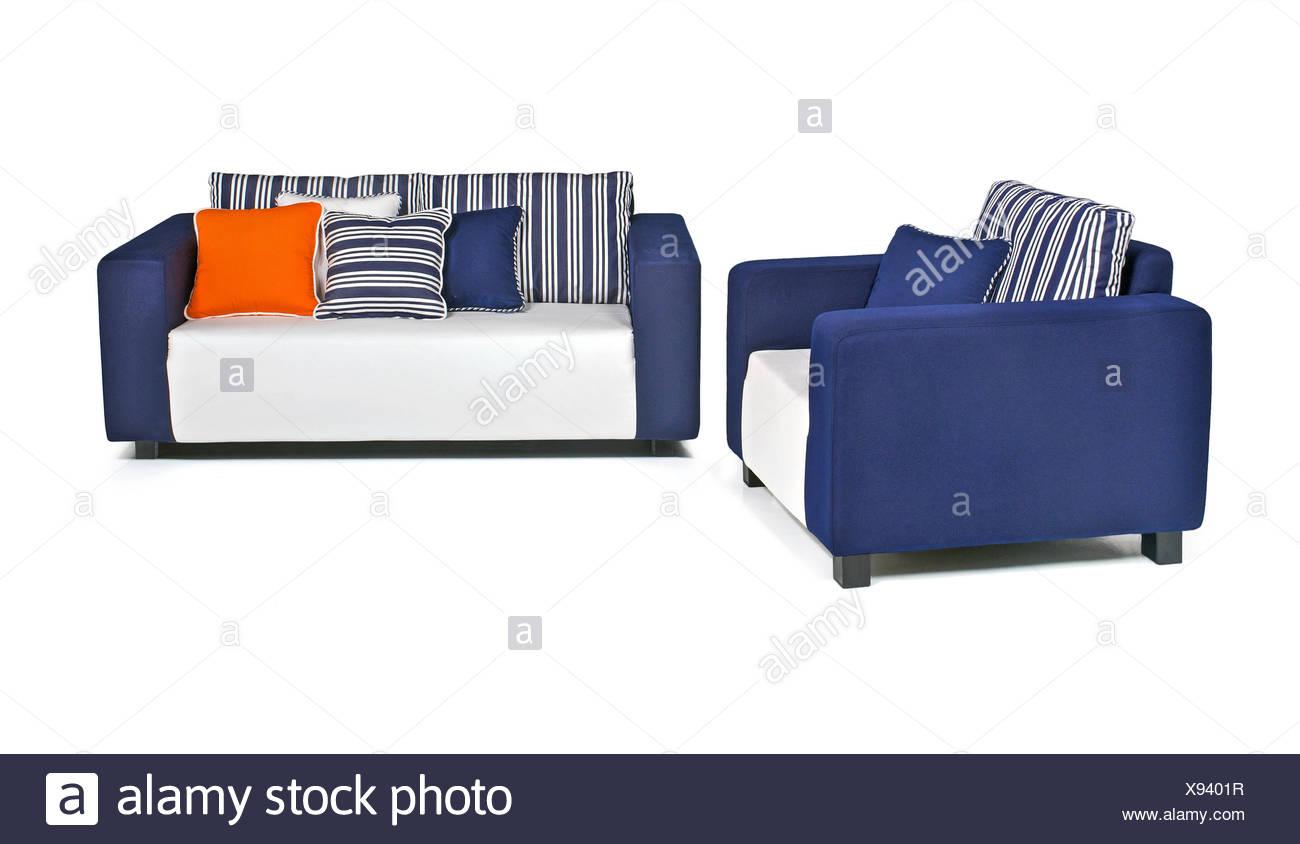 Enjoyable Indoor Outdoor Sofa Set In Blu And White Fabrics Stock Photo Uwap Interior Chair Design Uwaporg