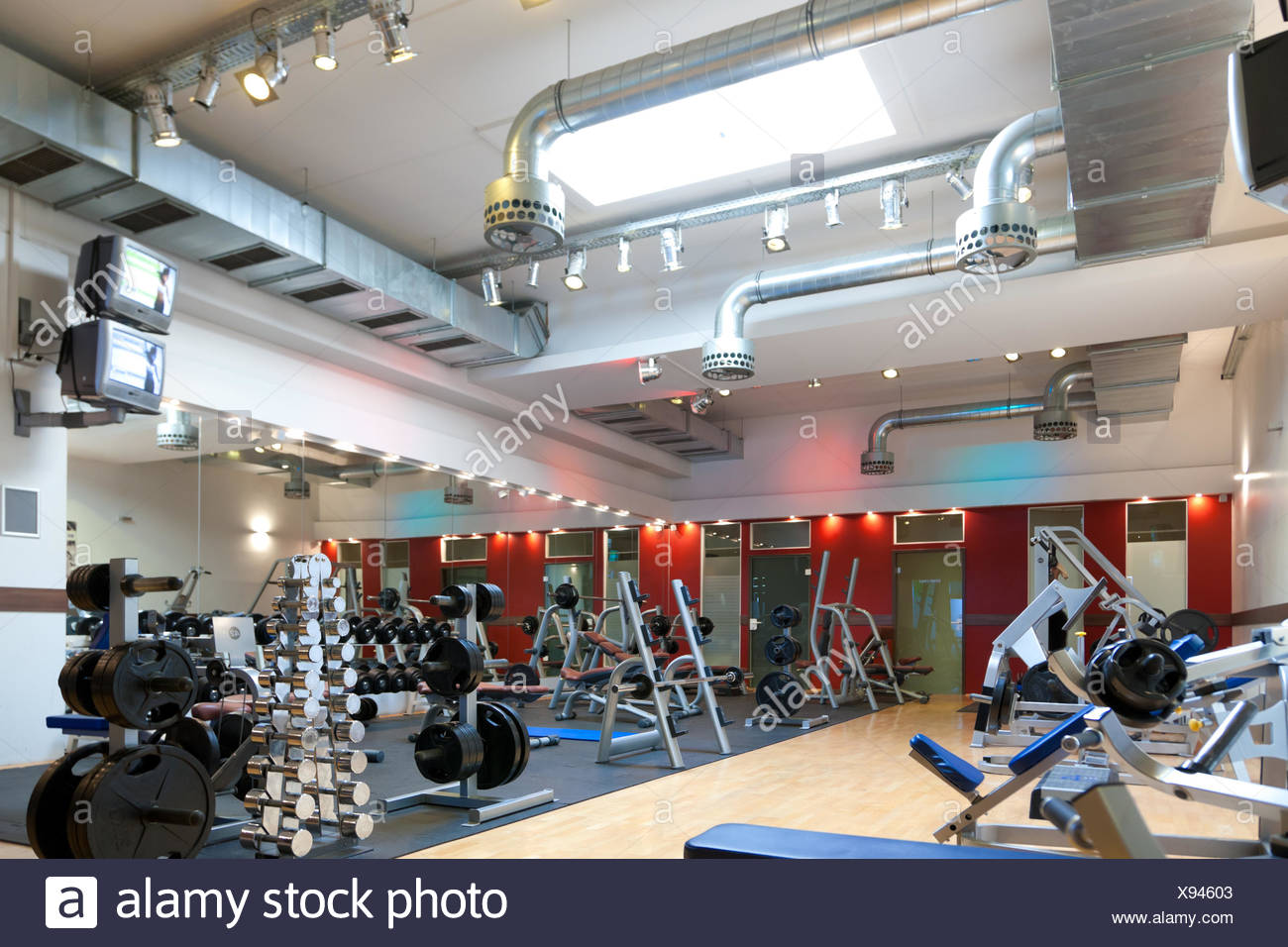 fitness center - equipment and weights - Stock Image