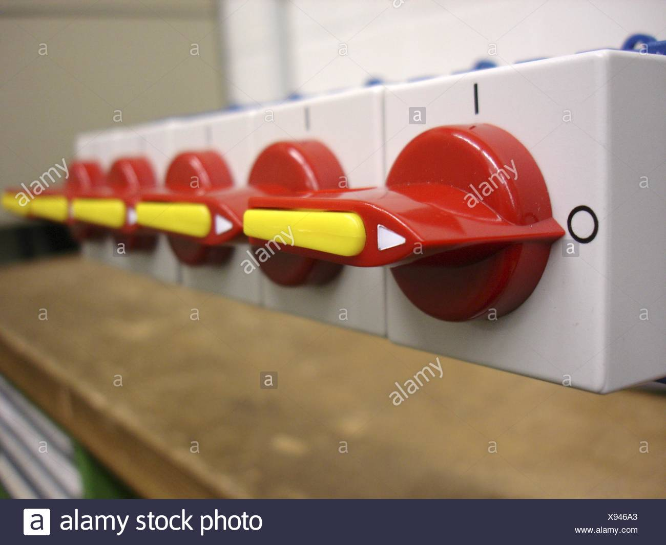 industry engineering row electric switch direction idea perspective point of - Stock Image
