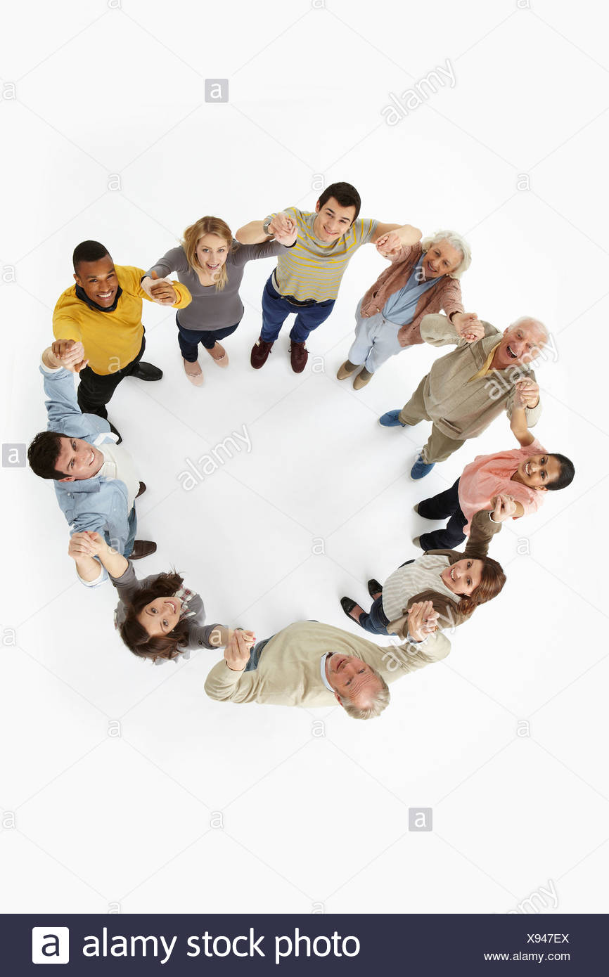 Group of people in a circle, high angle view - Stock Image