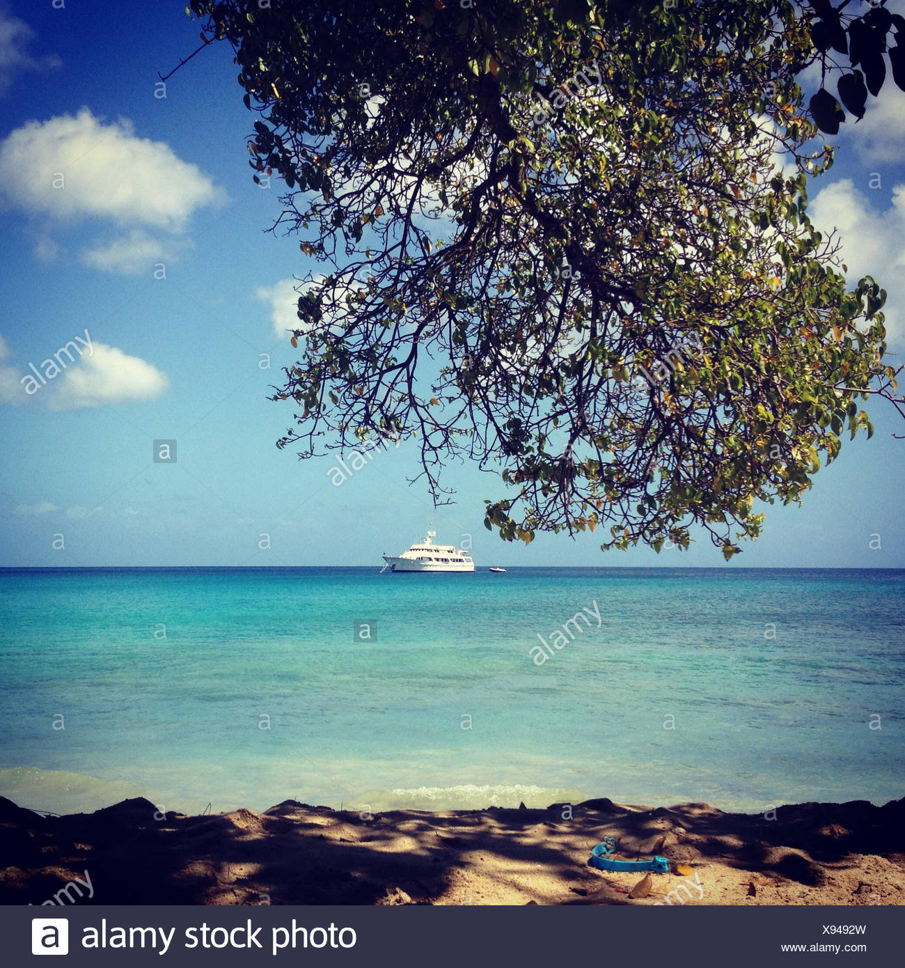 Barbados, Speightstown, View of yacht and seascape - Stock Image
