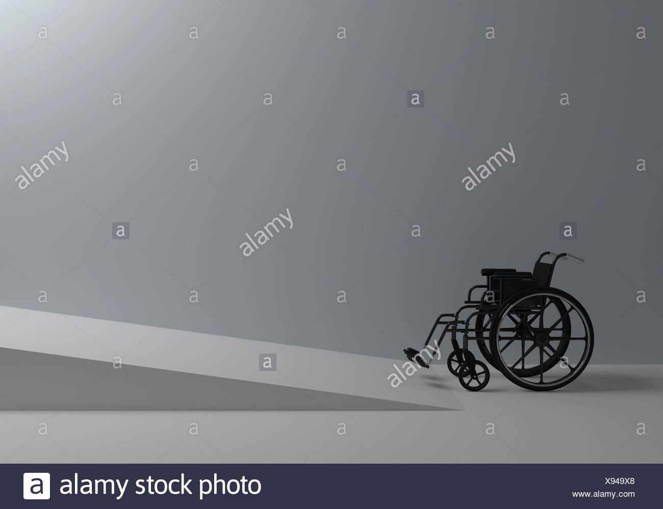 wheelchair in front of the ramp for the disabled - Stock Image