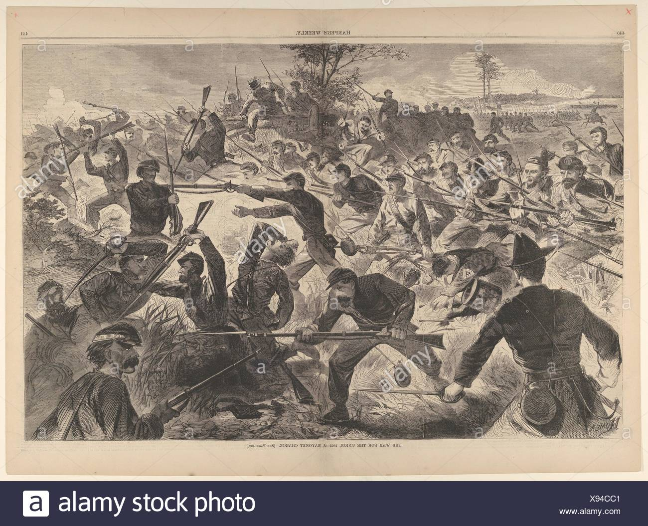 The War for the Union, 1862 - A Bayonet Charge (Harper's Weekly, Vol. VII). Artist: Winslow Homer (American, Boston, Massachusetts 1836-1910 Prouts - Stock Image