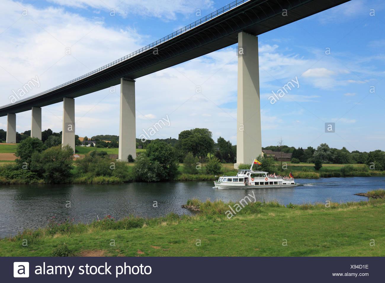 excursion steamer, white fleet, Mintarder Ruhr valley bridge, bridge, Mulheim on Ruhr, Ruhr area, North Rhine-Westphalia, German - Stock Image