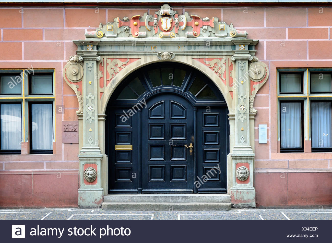 Portal of the government of the government presidium, Freiburg im Breisgau, Black Forest, Baden-Wuerttemberg, Germany, Europe - Stock Image