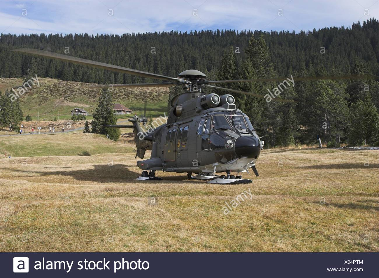 mountains alps aircrafts switzerland manoeuvre helicopter fascination - Stock Image