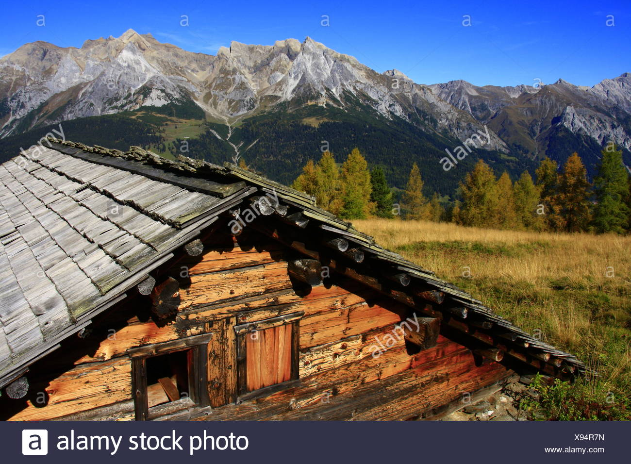 Old tyrolean alpine cabin - Stock Image