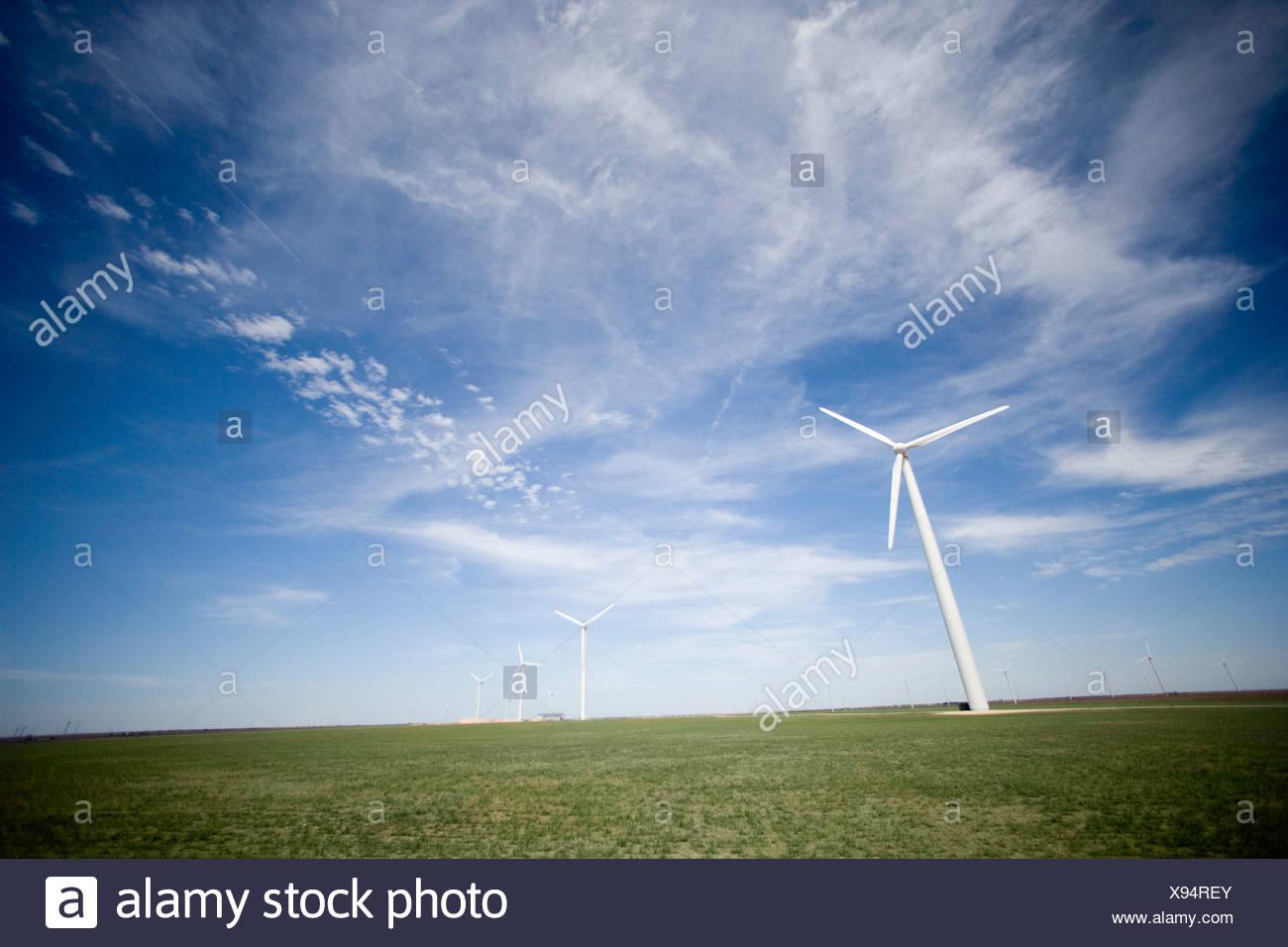 USA, Texas, Roscoe County, West Texas Wind Turbines Stock