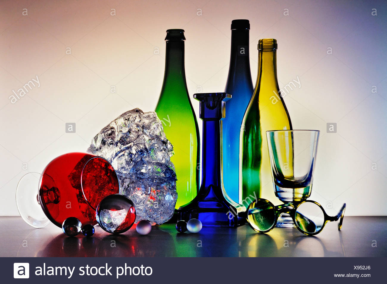 Coloured glass objects - Stock Image