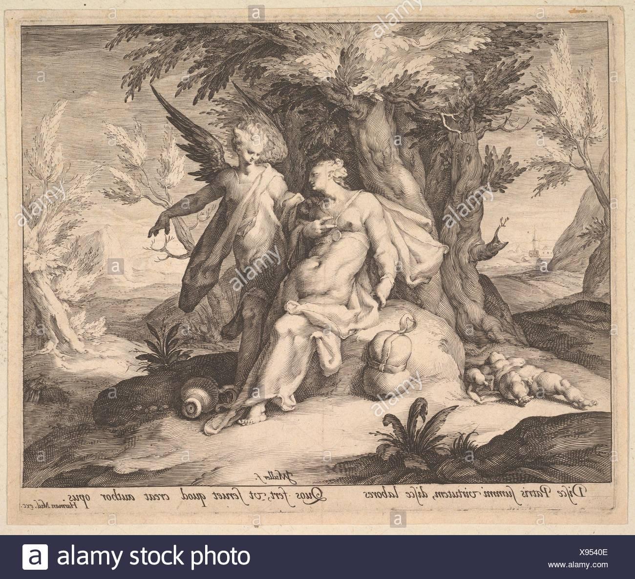 Hagar in the Desert Consoled by an Angel. Artist: Jan Muller (Netherlandish, Amsterdam 1571-1628 Amsterdam); Artist: Jan Muller (Netherlandish, - Stock Image