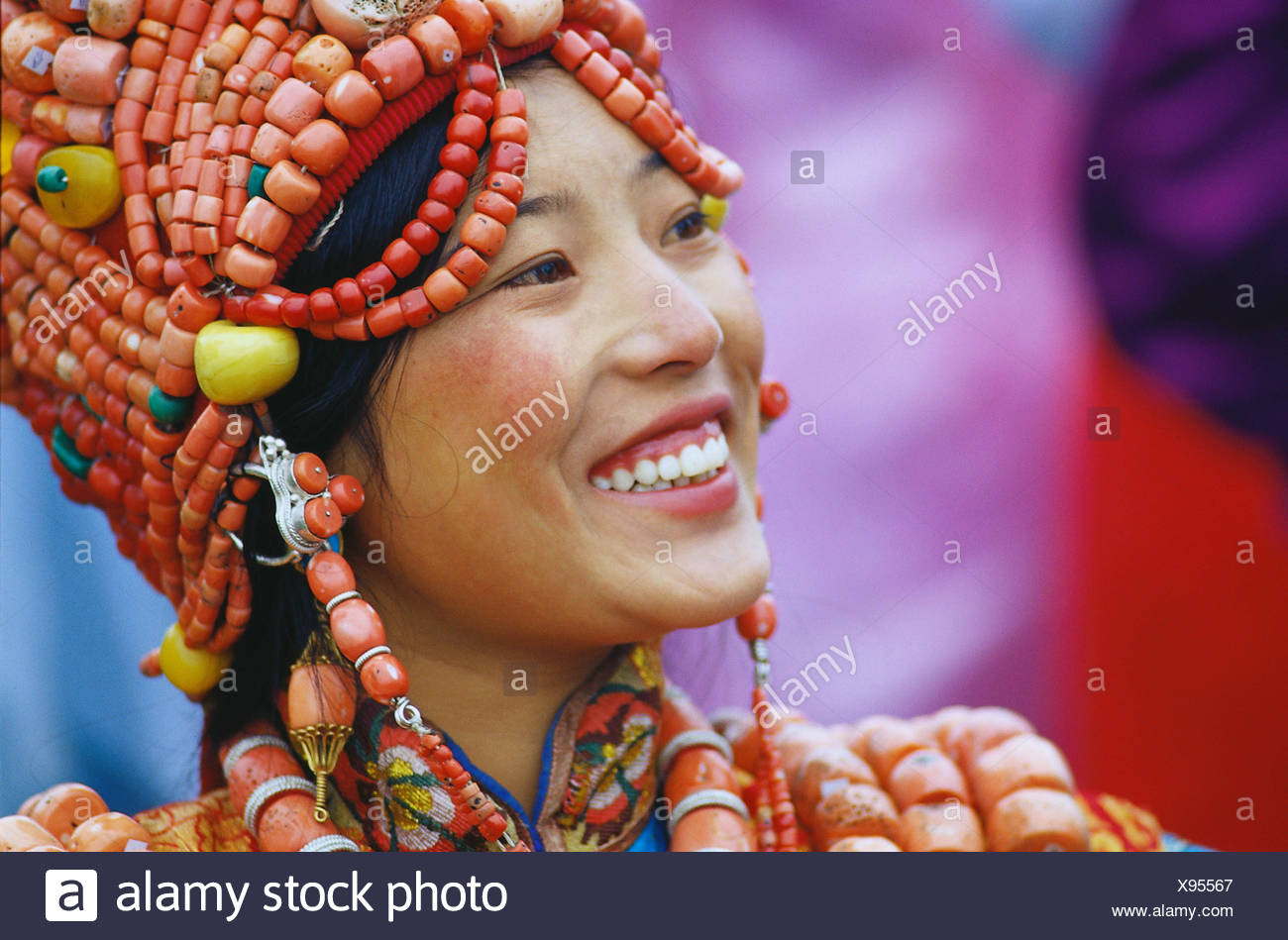 the portrait of a tibet woman - Stock Image
