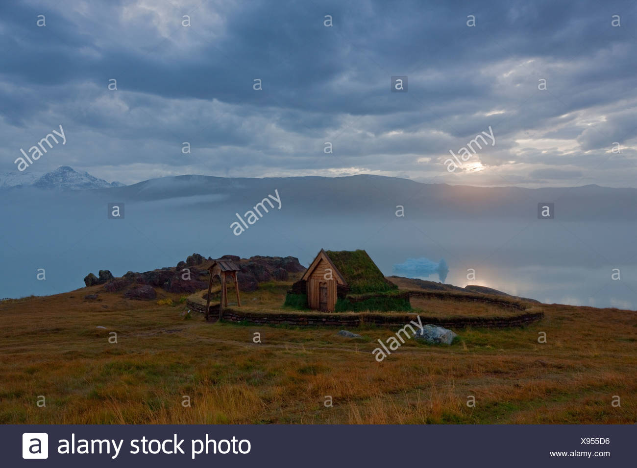 The reconstructed Norse Church at  Qassiarsuk, Greenland. - Stock Image