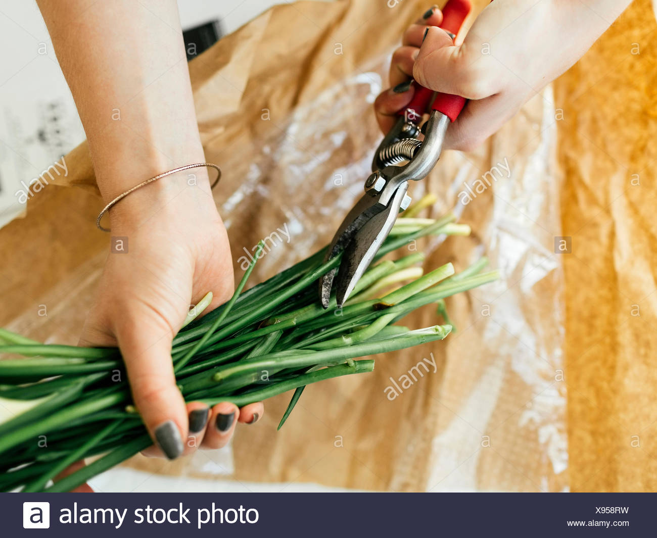 Woman cutting flower stems - Stock Image