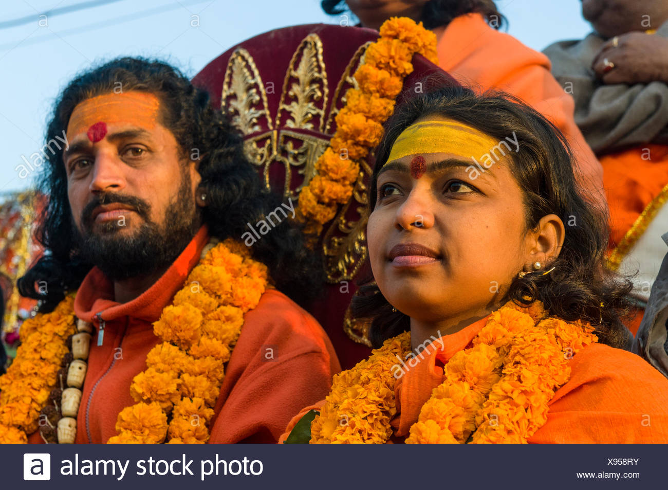 Female and male sadhu, at the procession of the Shahi Snan, the royal bath, during Kumbha Mela festival, Allahabad - Stock Image