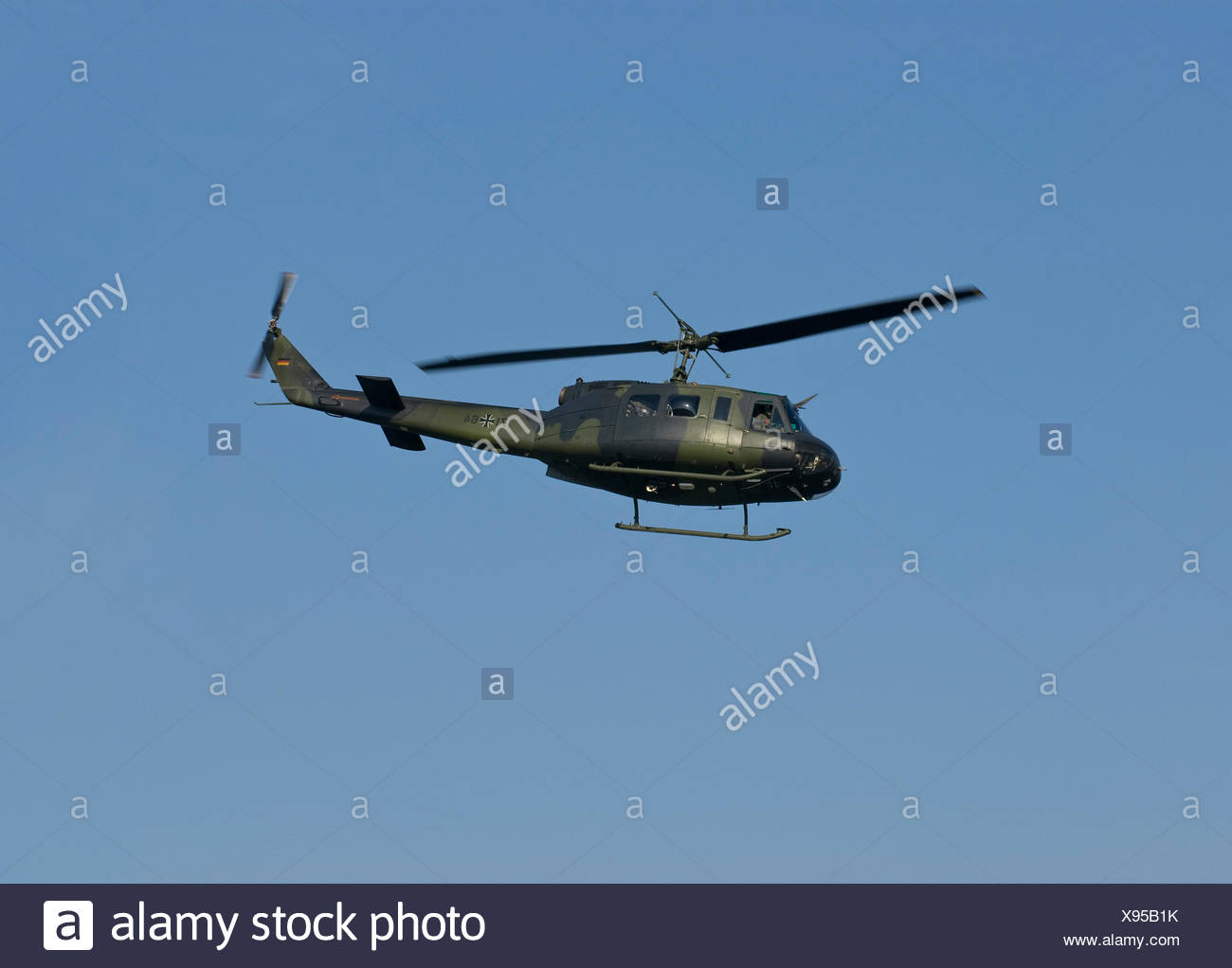Bundeswehr, federal army, helicopter Bell UH-1D HUEY in flight, PublicGround - Stock Image