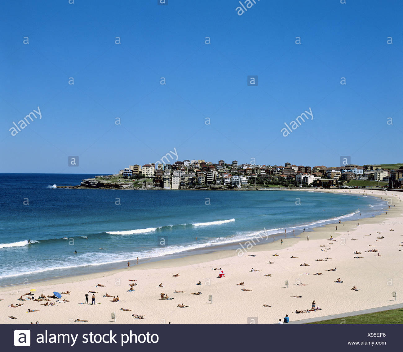 Australia bathing Bondi Beach bay Eastern Suburb coast life beach seashore Sydney - Stock Image