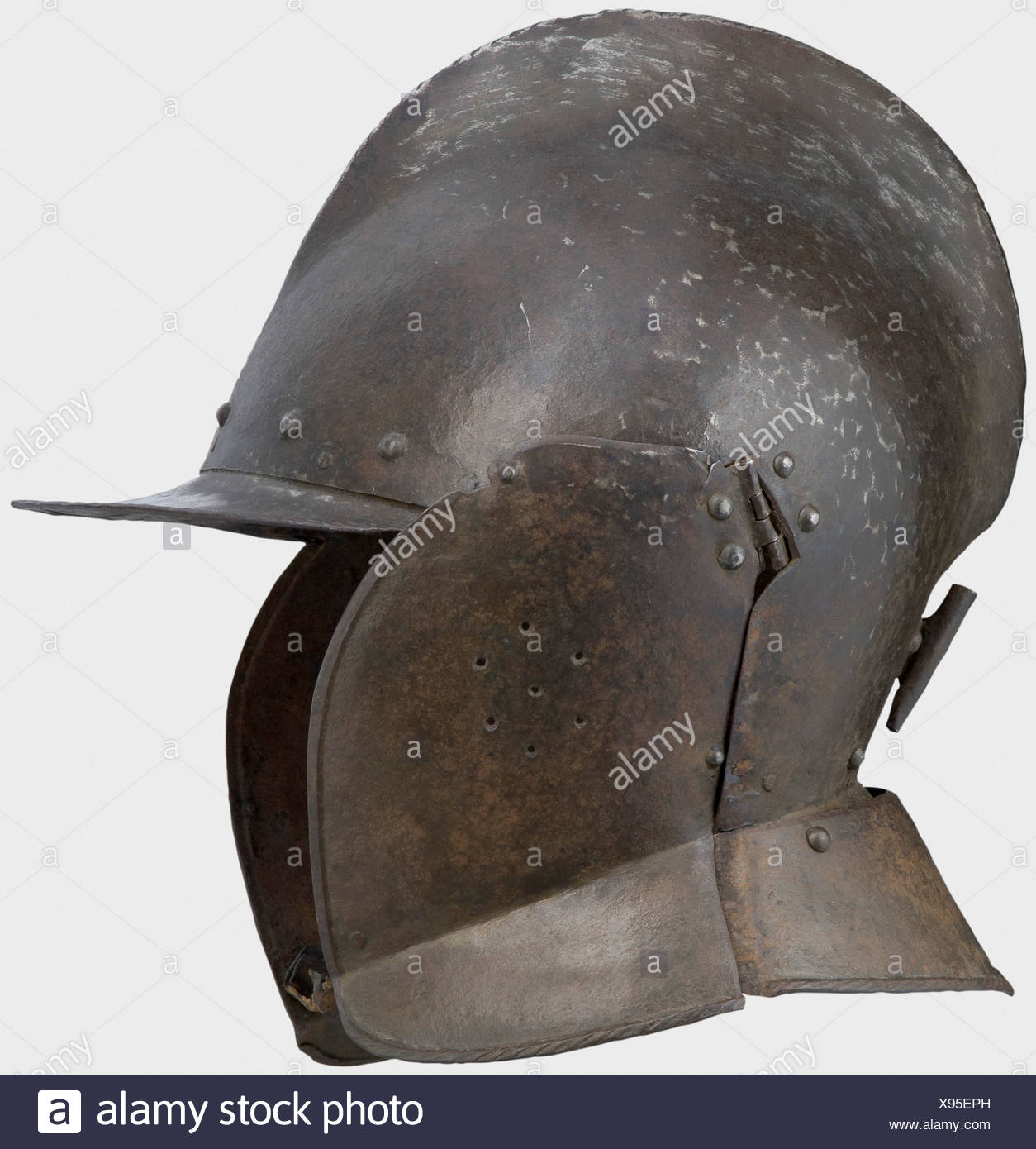 A German burgonet, gorget, and pauldrons, end of the 16th