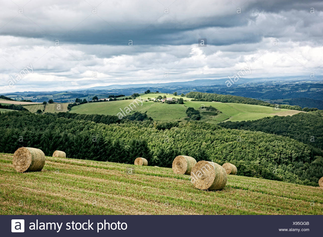 Cantal landscape in Auvergne, France. Stock Photo
