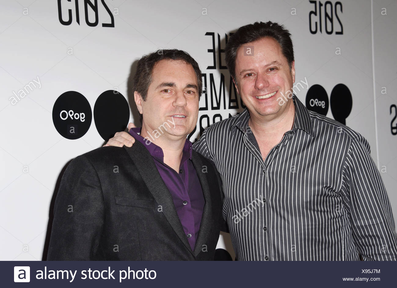 Video game designers and co-founders of Westwood Studios Brett Sperry (L) and Louis Castle arrive at The Game Awards 2015 / Arrivals at Microsoft Theater on December 3, 2015 in Los Angeles, California., Additional-Rights-Clearances-NA - Stock Image