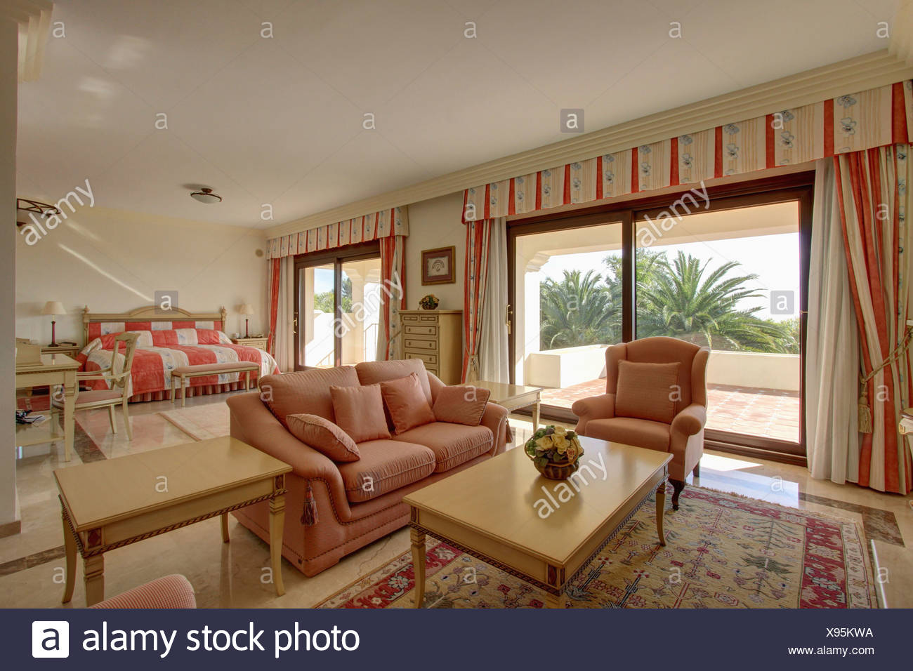 Striped Drapes On Glass Doors To Balcony In Spanish Apartment