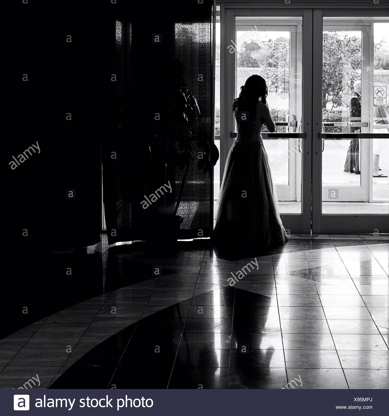 Rear View Of Woman Looking Through Window - Stock Image