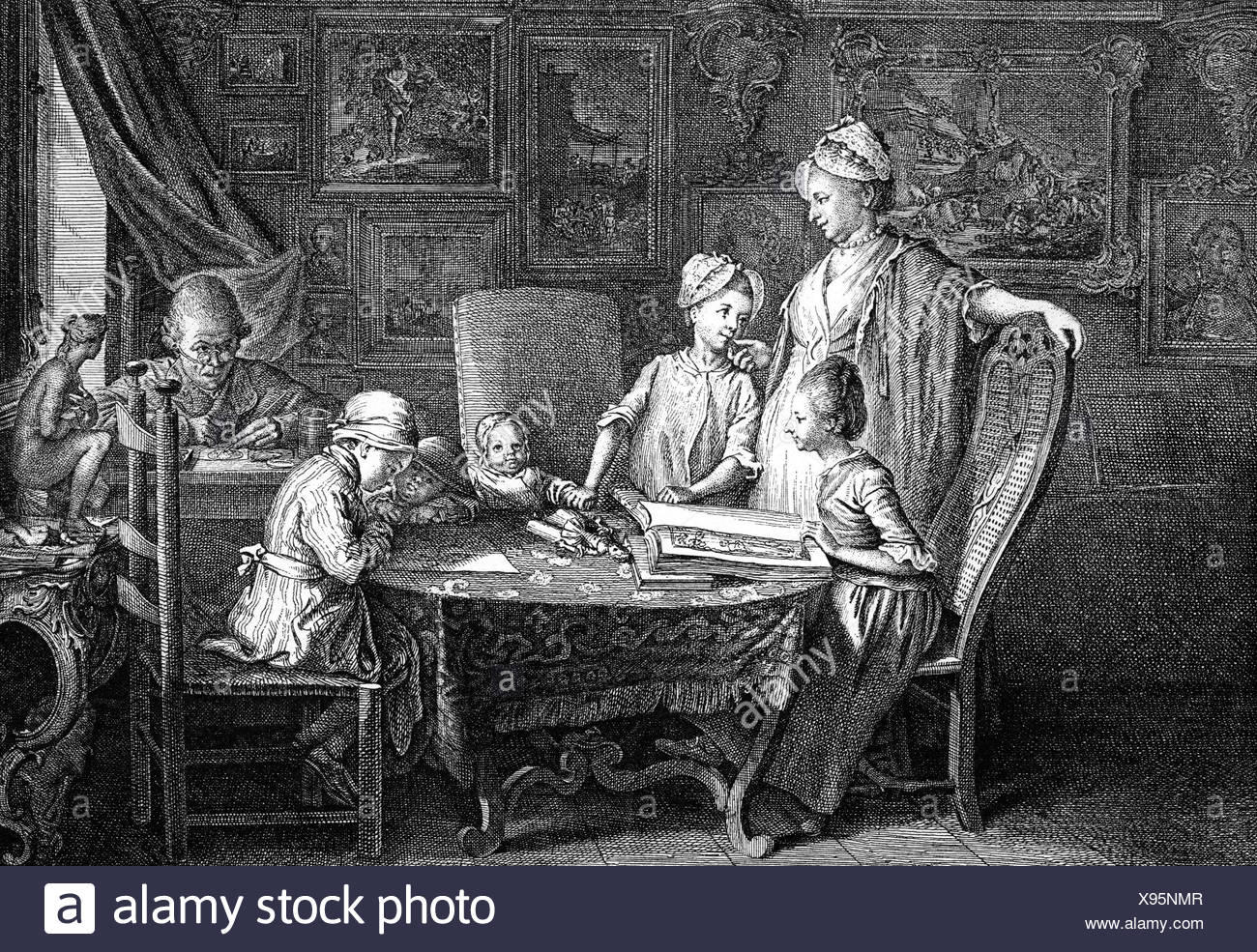 Chodowiecki, Daniel, 16.10.1726 - 7.2.1801, Polish - German painter and printmaker, disturbed by his family, copper engraving 'Das Familienblatt', by himself, 18th century, Artist's Copyright has not to be cleared - Stock Image