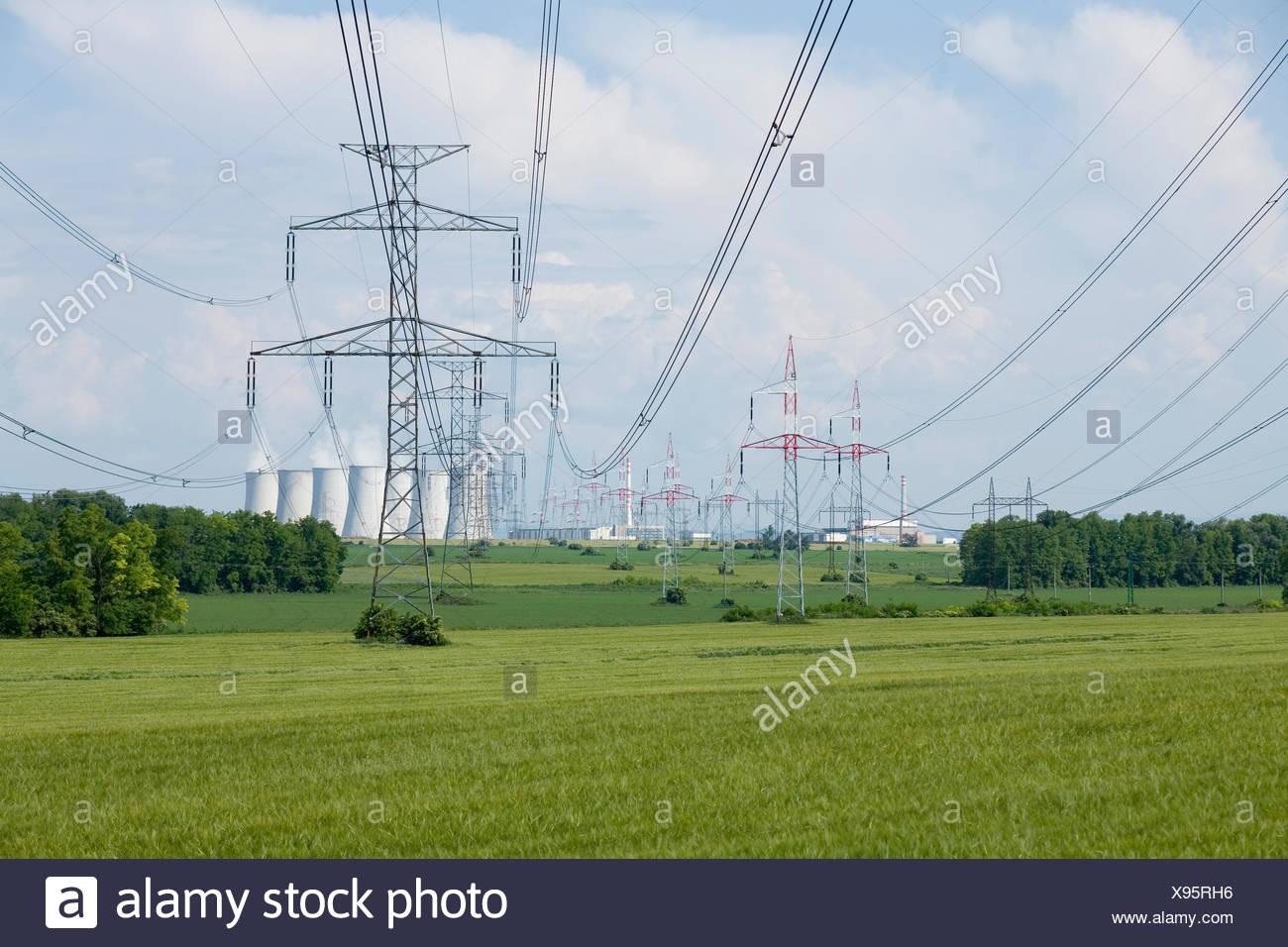 Kraftwerk, Kuehlturm, Detail, Rauch, Kernkraftwerk, Atomkraftwerk, Wirtschaft, Energie, Energiegewinnung, Energieversorgung, Ele - Stock Image