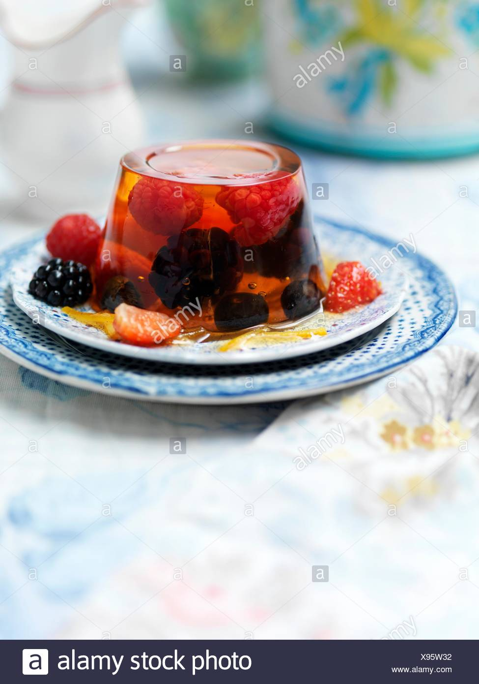 Jelly, strawberries, blackberries - Stock Image