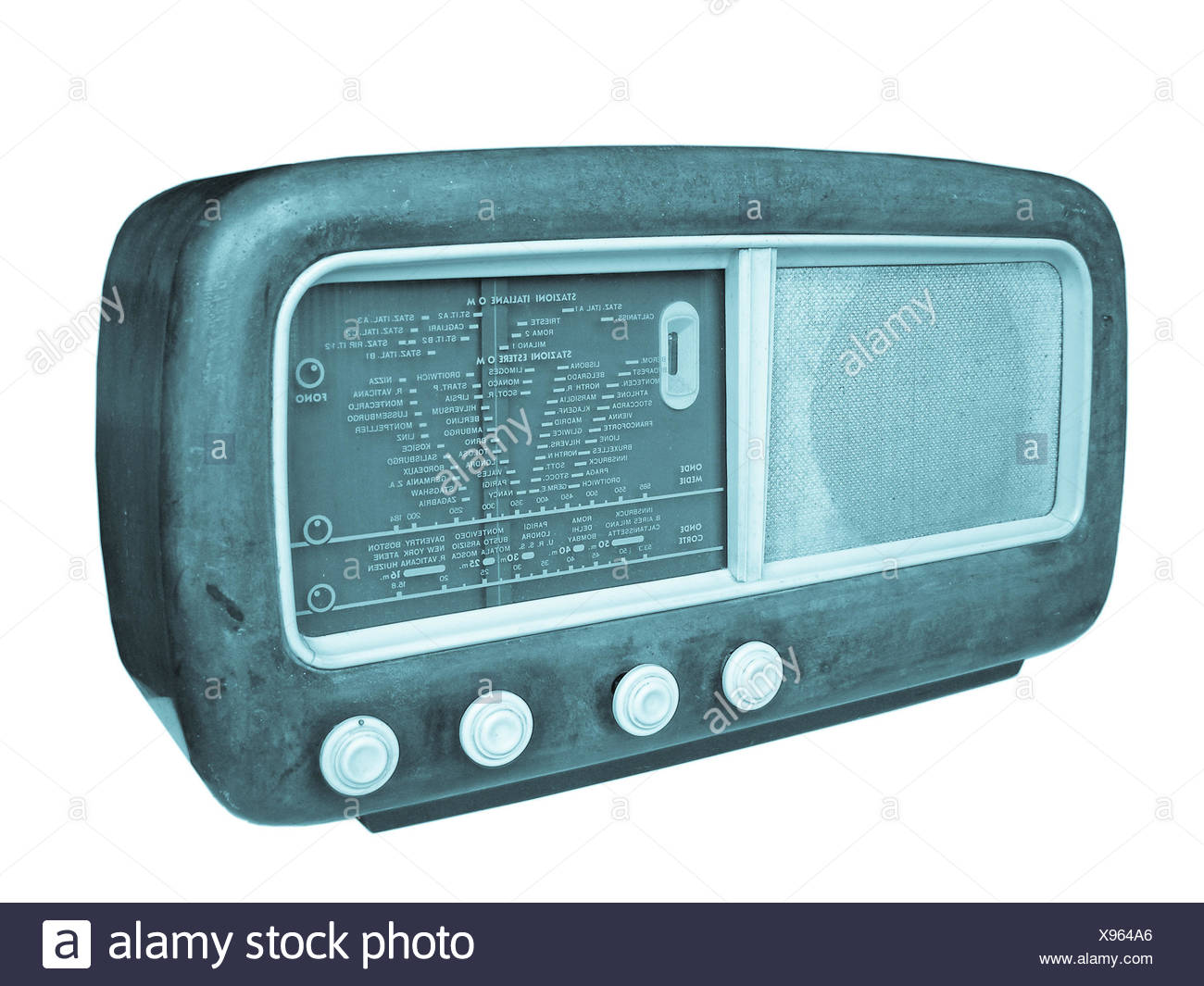 A vintage retro old AM radio tuner - cool cyanotype - Stock Image
