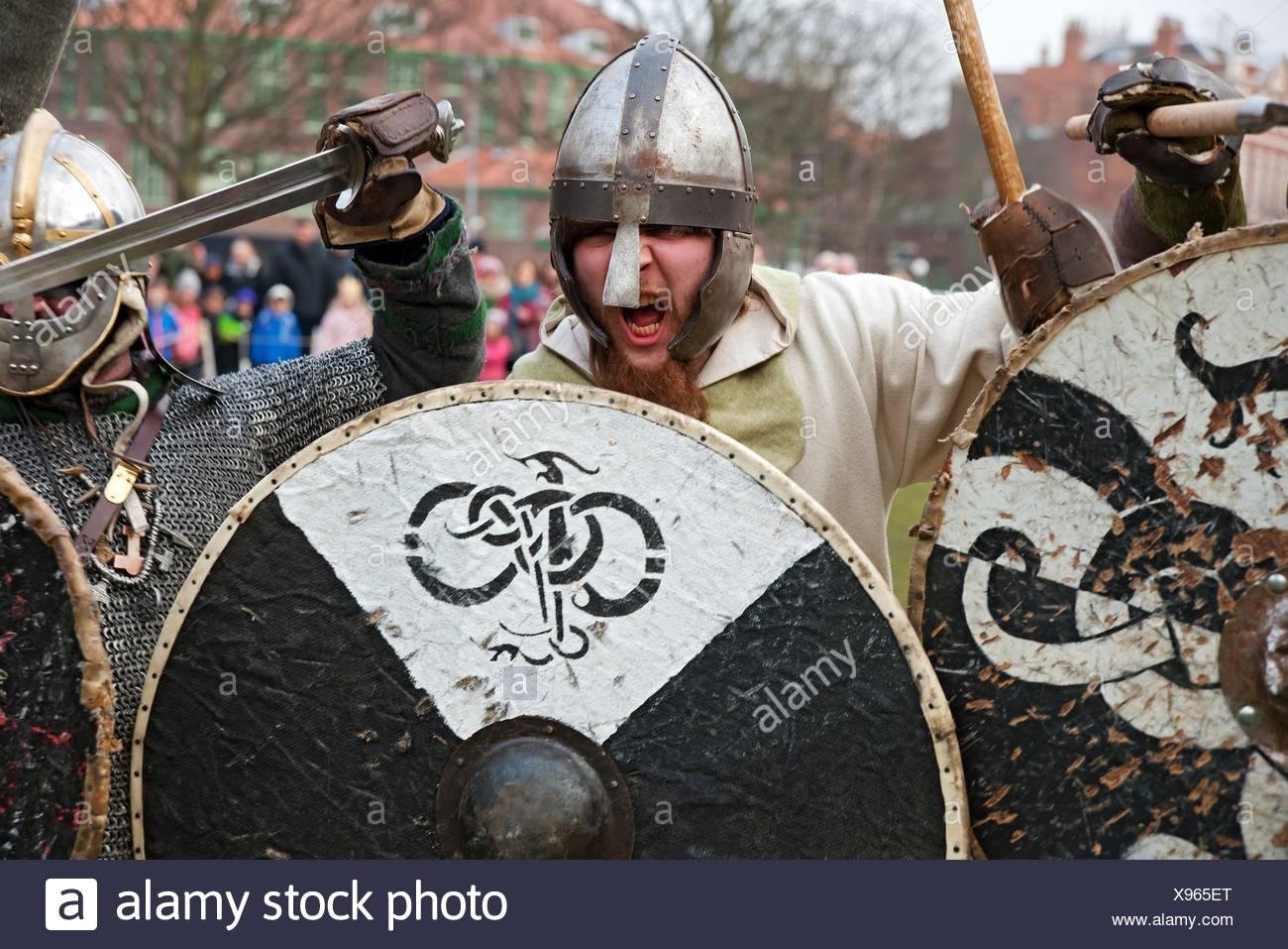 Vikings and Anglo Saxons at the Viking Festival York North Yorkshire England UK United Kingdom GB Great Britain. - Stock Image