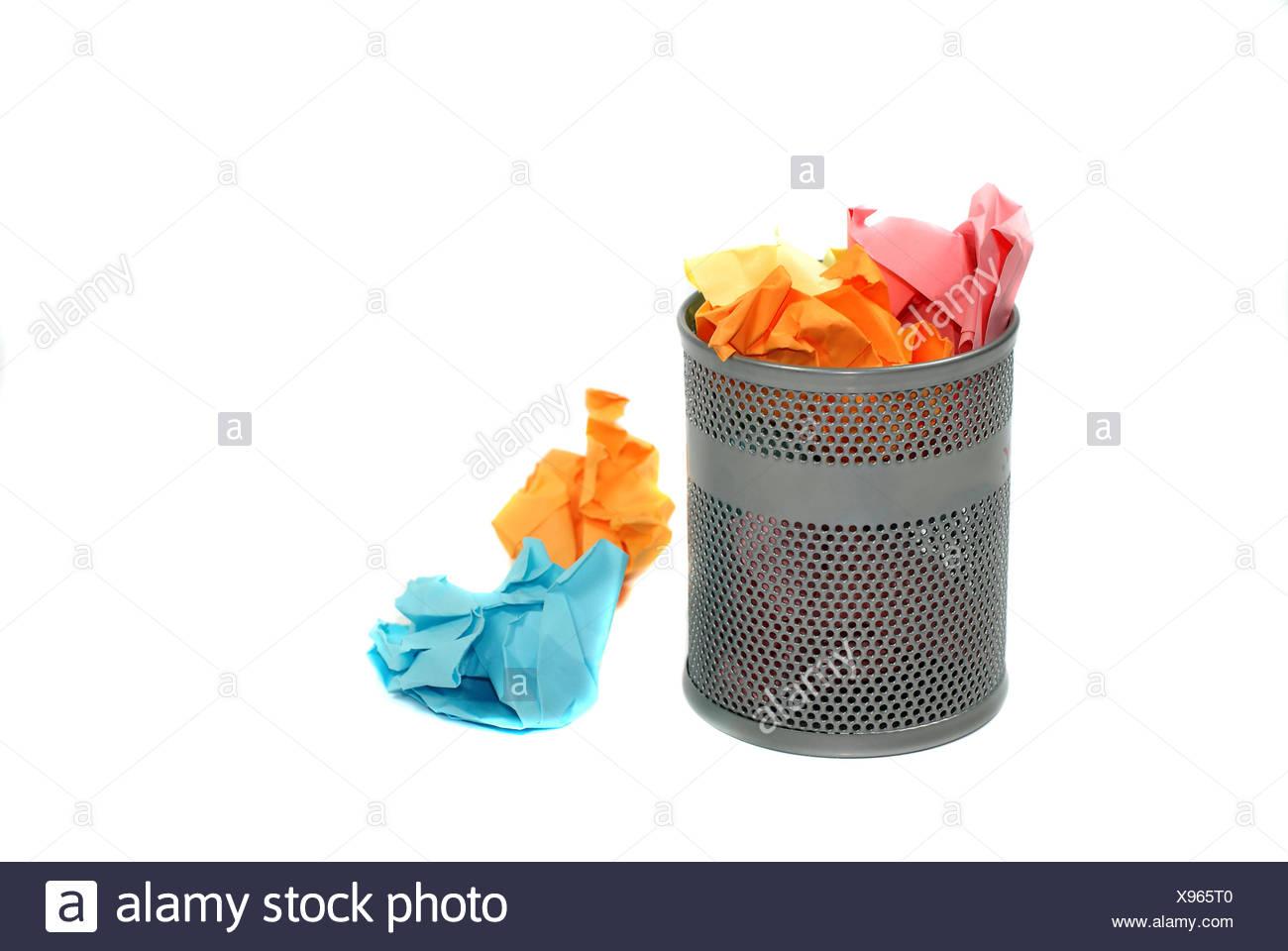 waste paper bin Stock Photo