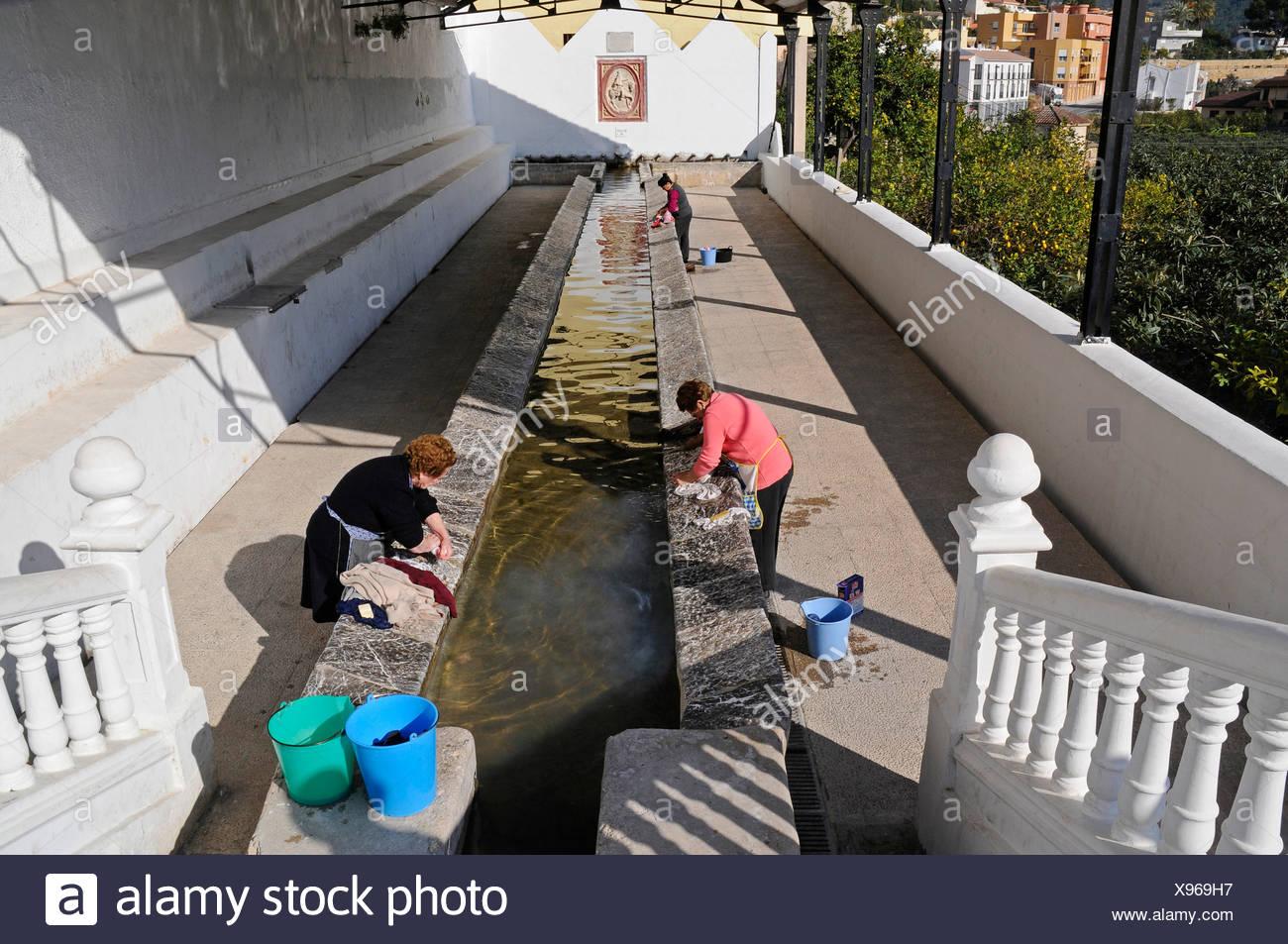 Public laundry area, washing spot, Callosa d'en Sarria, Alicante, Costa Blanca, Spain - Stock Image