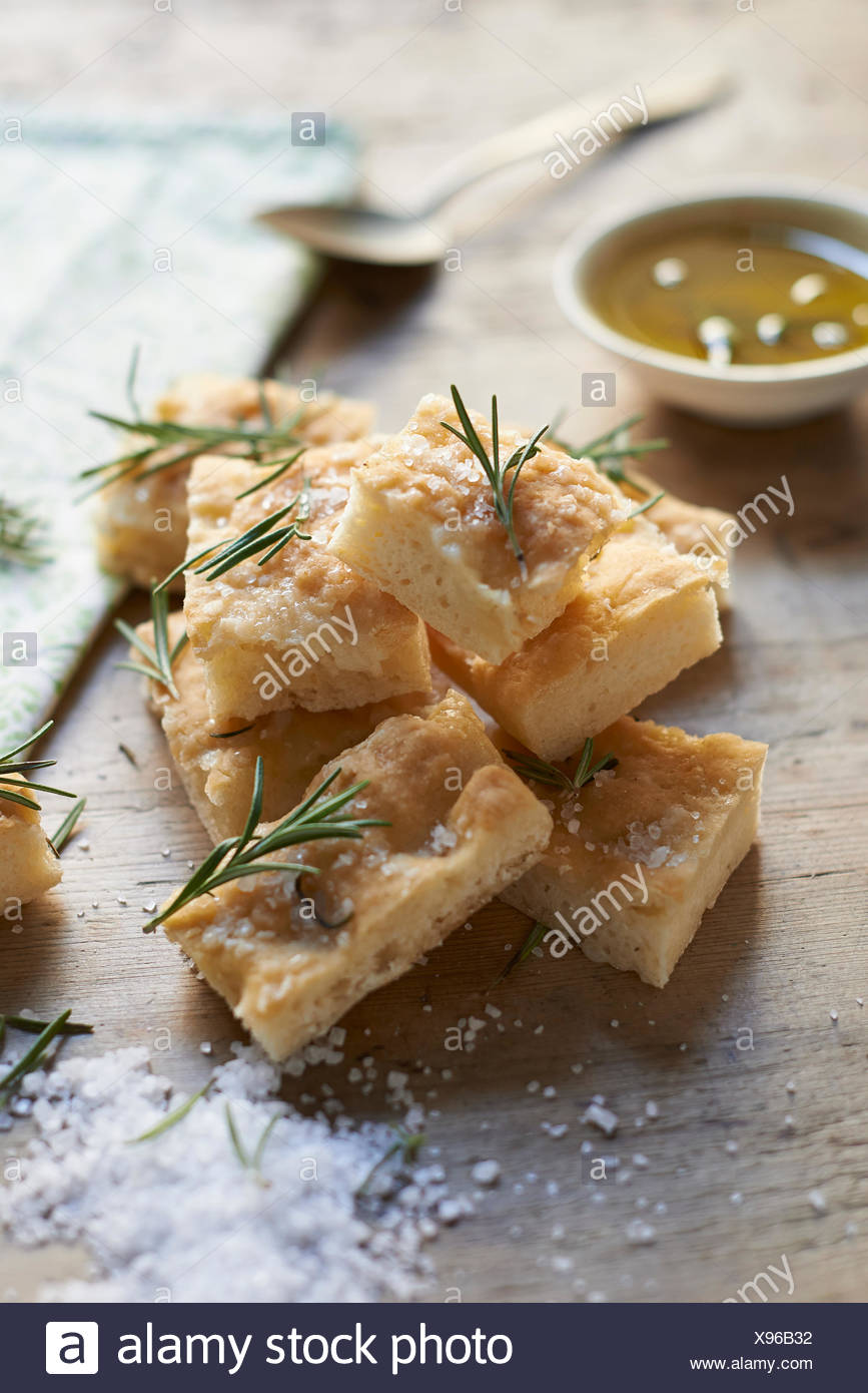 Gluten-free ciabatta squares with rosemary - Stock Image