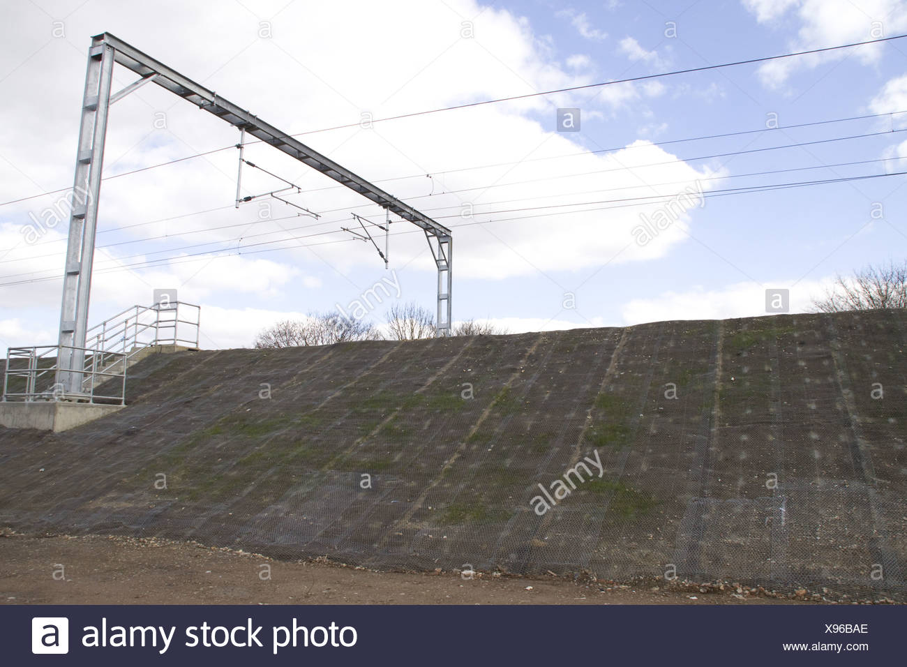 Railway embankment wit matt netting used controle Stock Photo