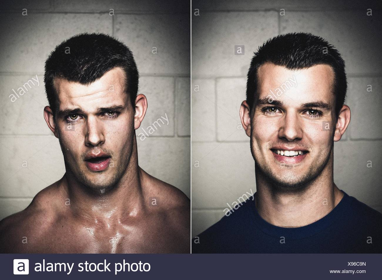 Portraits of young man before and after workout - Stock Image
