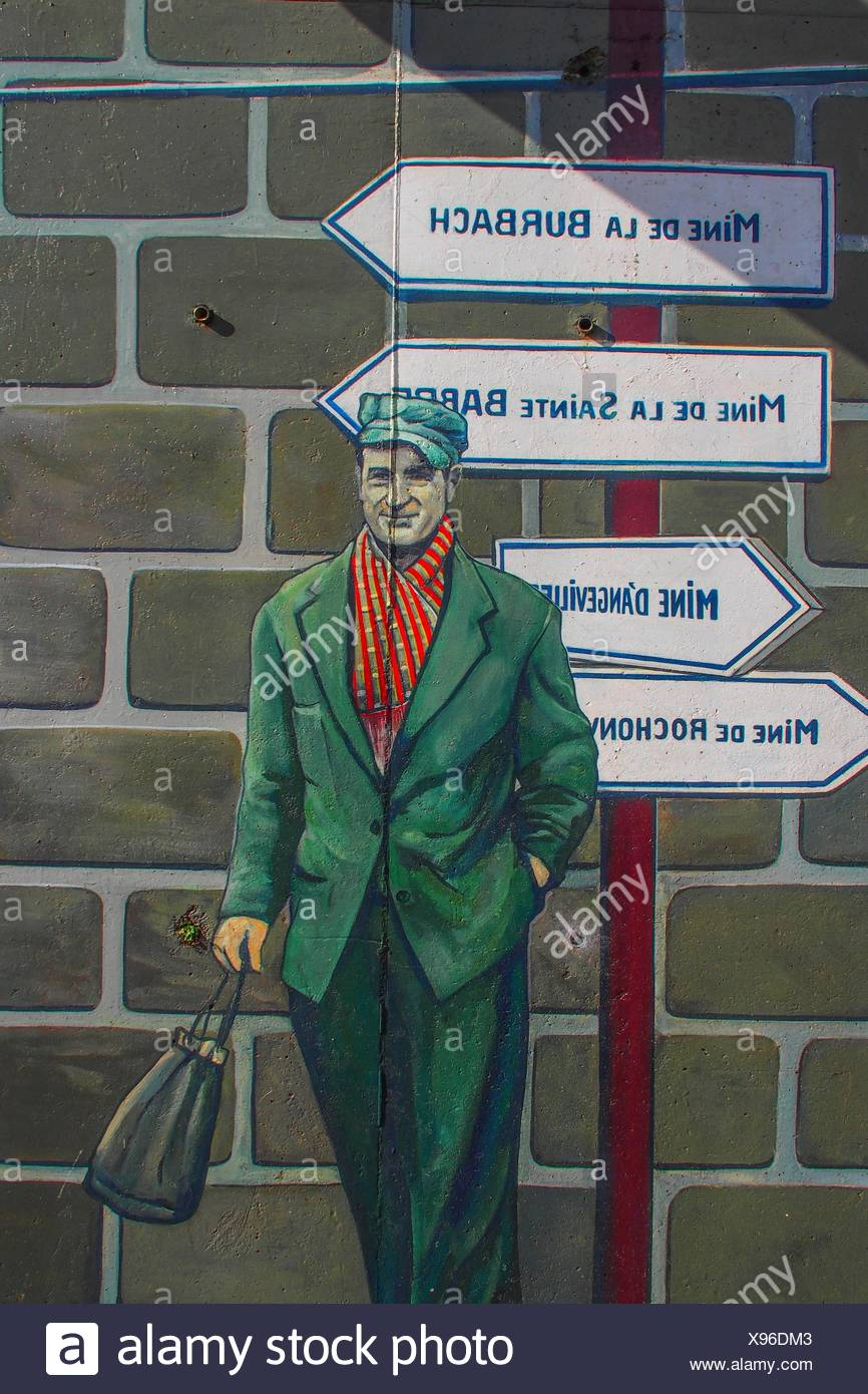 France-Lorraine.Moselle- Monumental fresco of Greg Gawra to the glory of the mines and miners of Algrange. - Stock Image