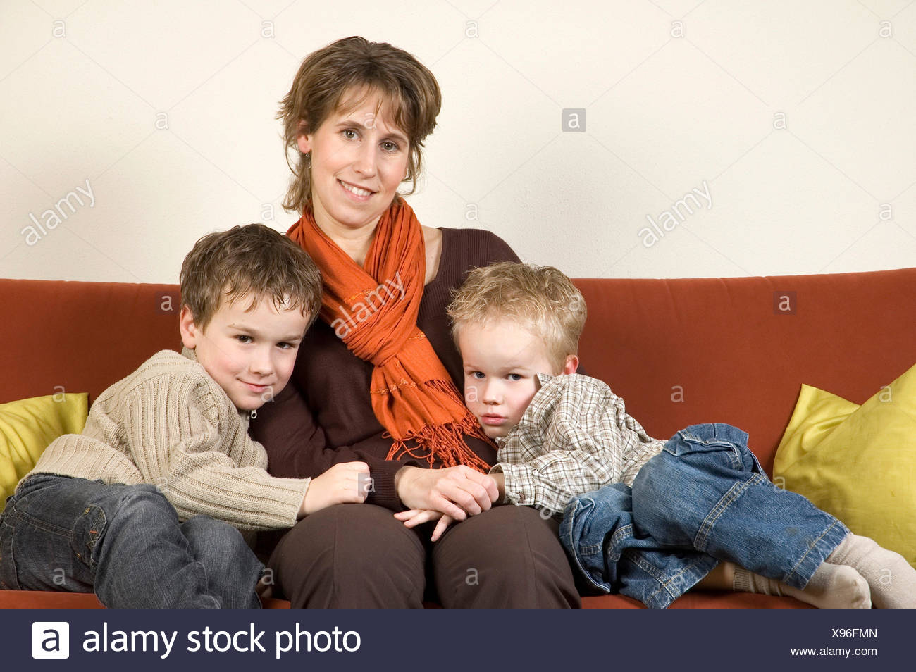 Mother And Two Sons 3 - Stock Image