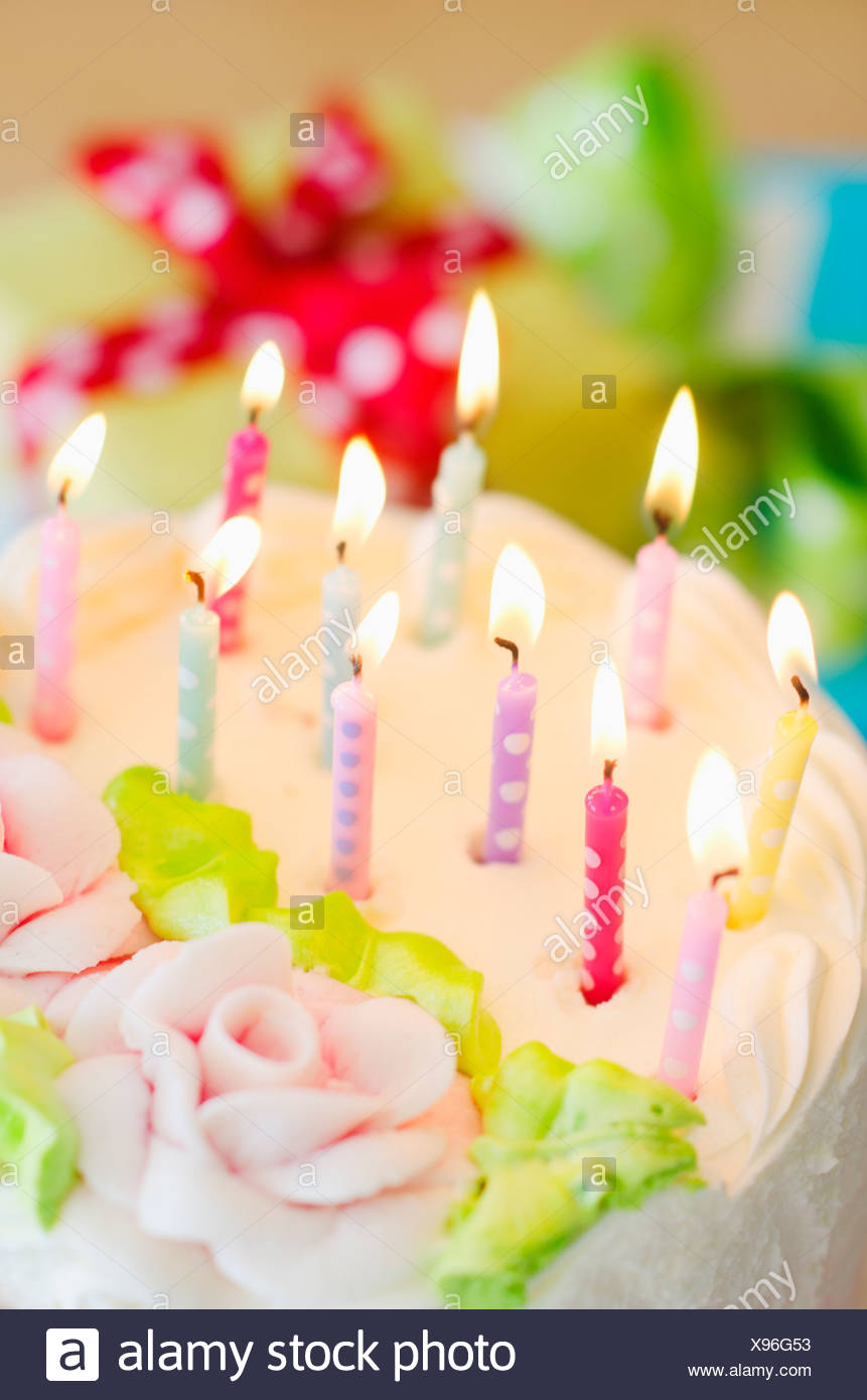 Close Up Of Birthday Candles On Cake