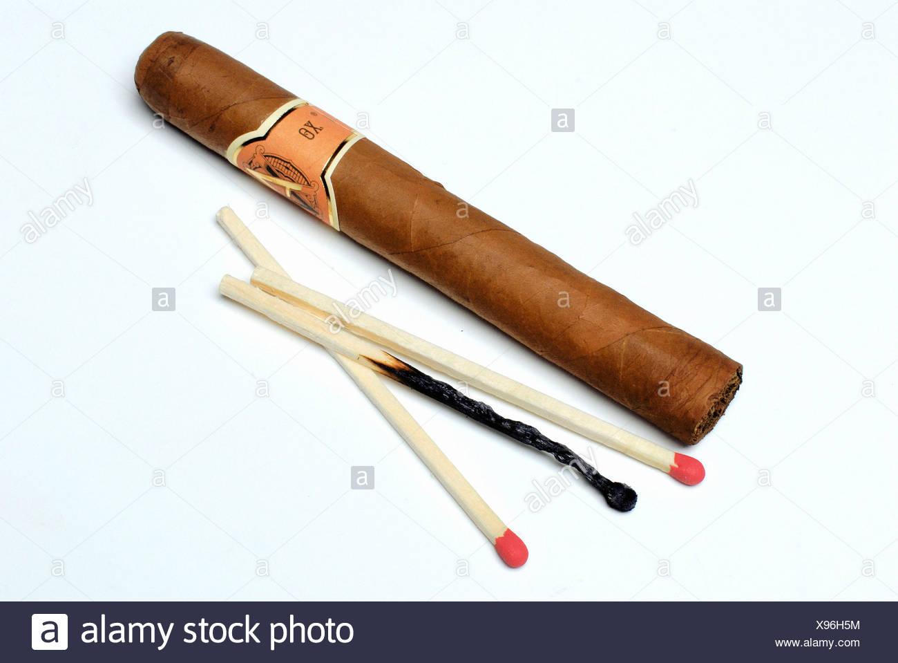 Matchsticks and Cigar - Stock Image